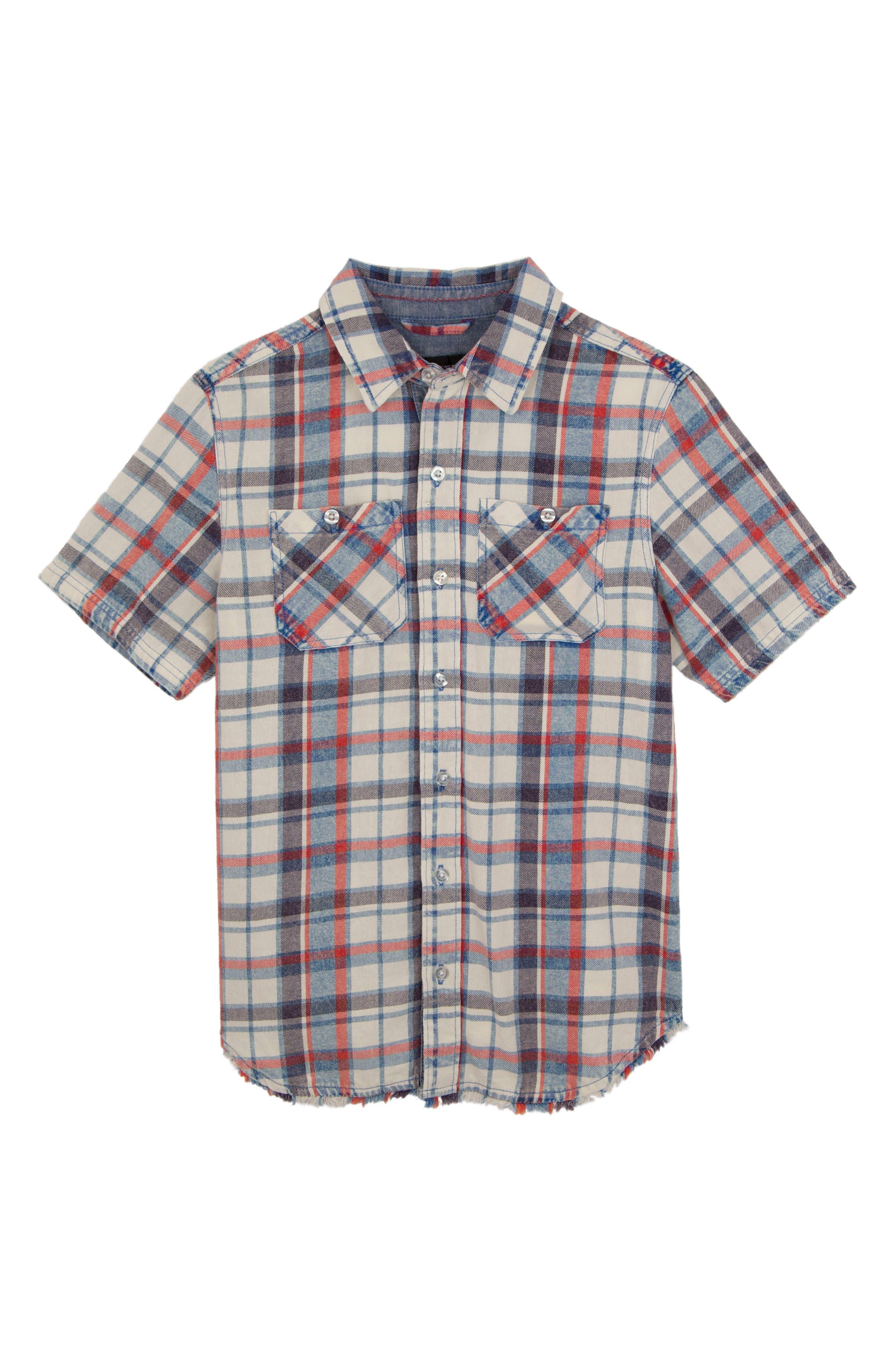 Connor Washed Plaid Chambray Shirt,                             Main thumbnail 1, color,                             100