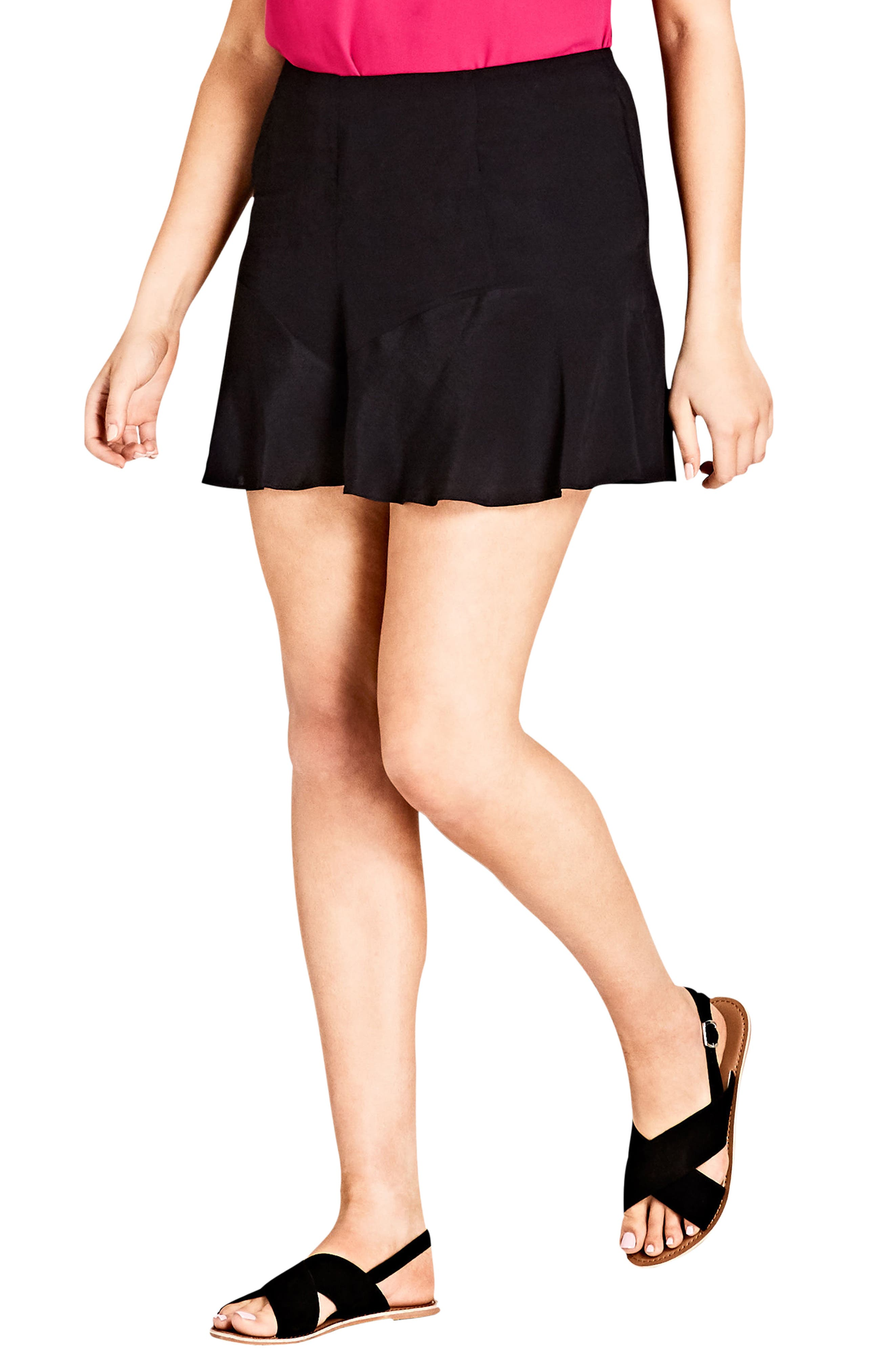 CITY CHIC High Rise Ruffle Hem Shorts, Main, color, 014