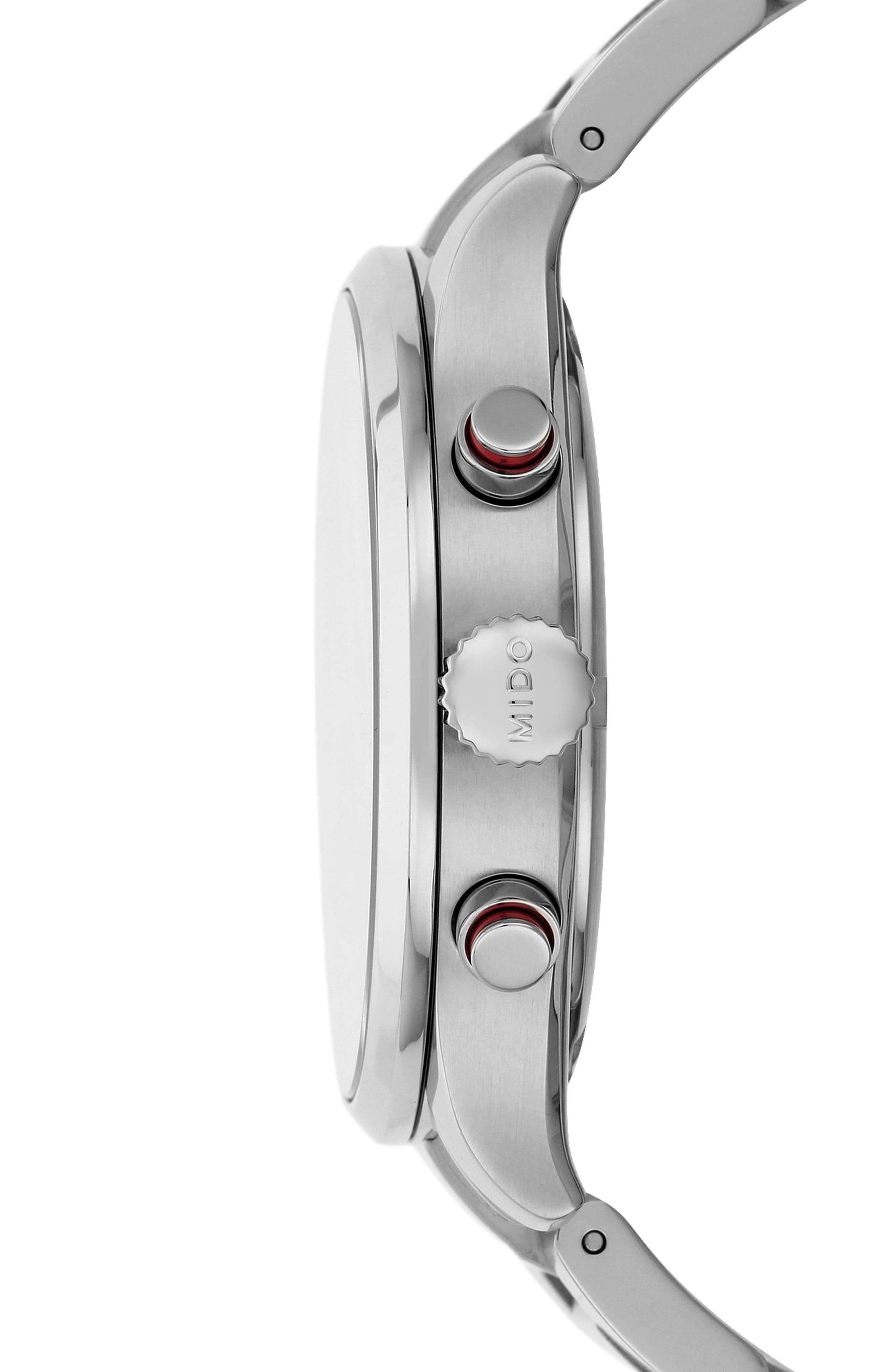 Multifort Chronograph Bracelet Watch, 42mm,                             Alternate thumbnail 2, color,                             SILVER/ BLACK/ SILVER