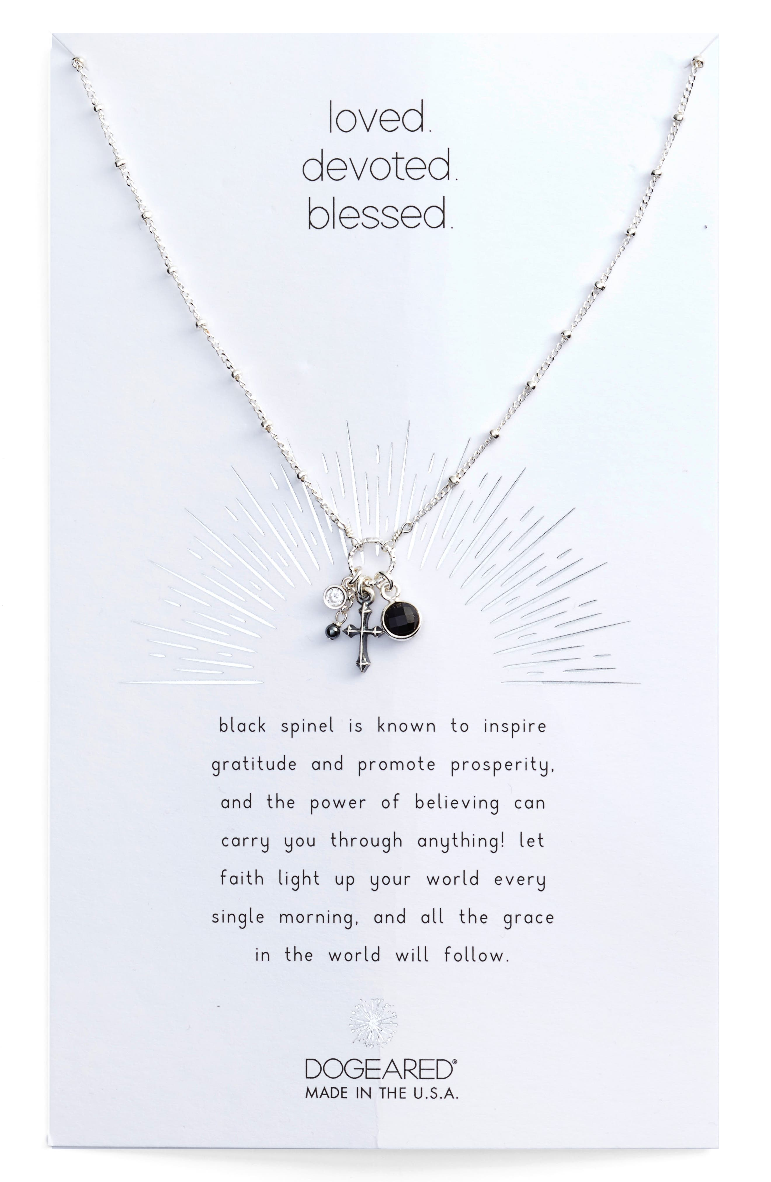 Loved, Devoted, Blessed Cross Charm Pendant Necklace,                         Main,                         color, 040