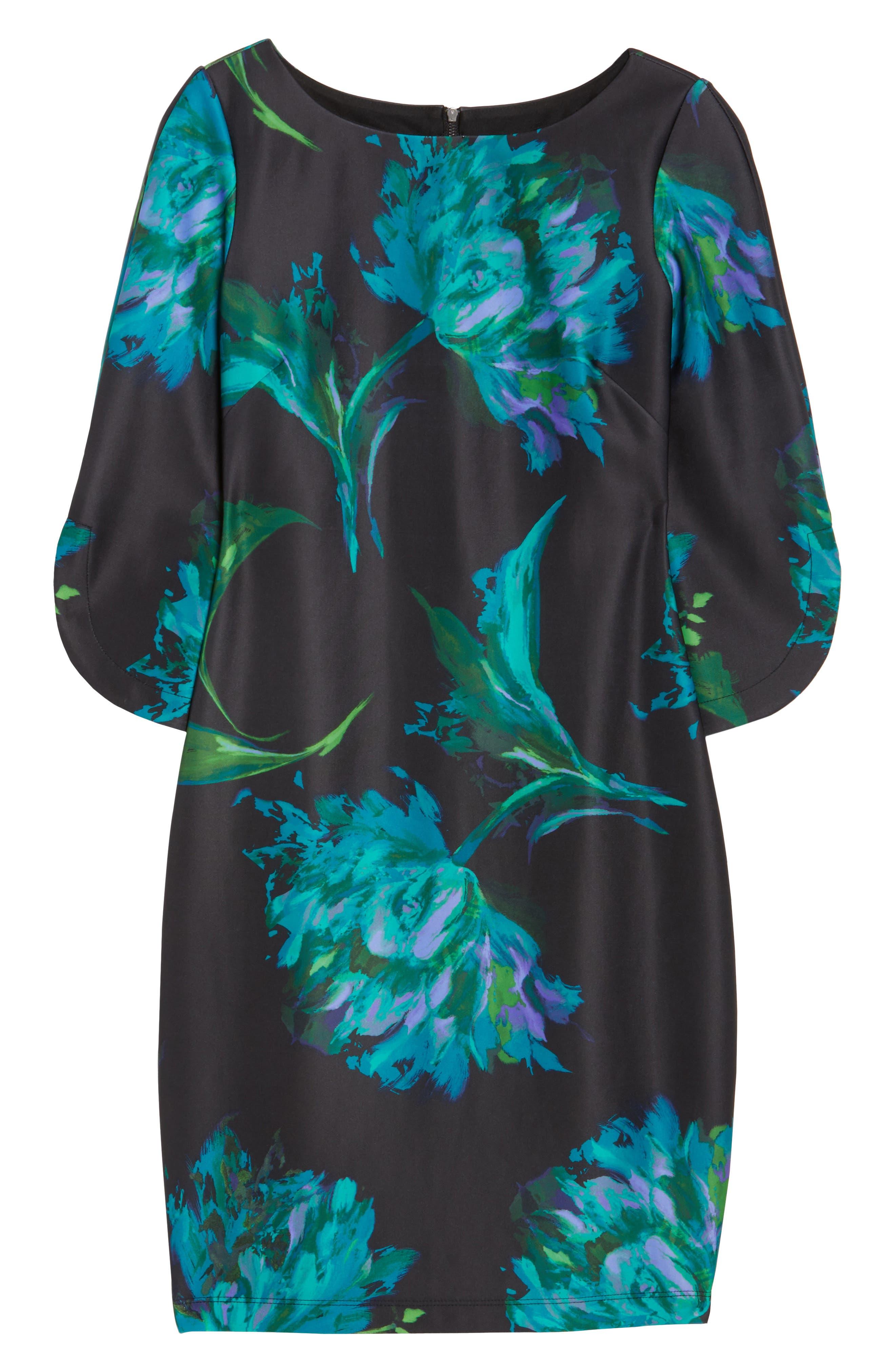 Floral Print Shift Dress,                             Alternate thumbnail 6, color,                             440