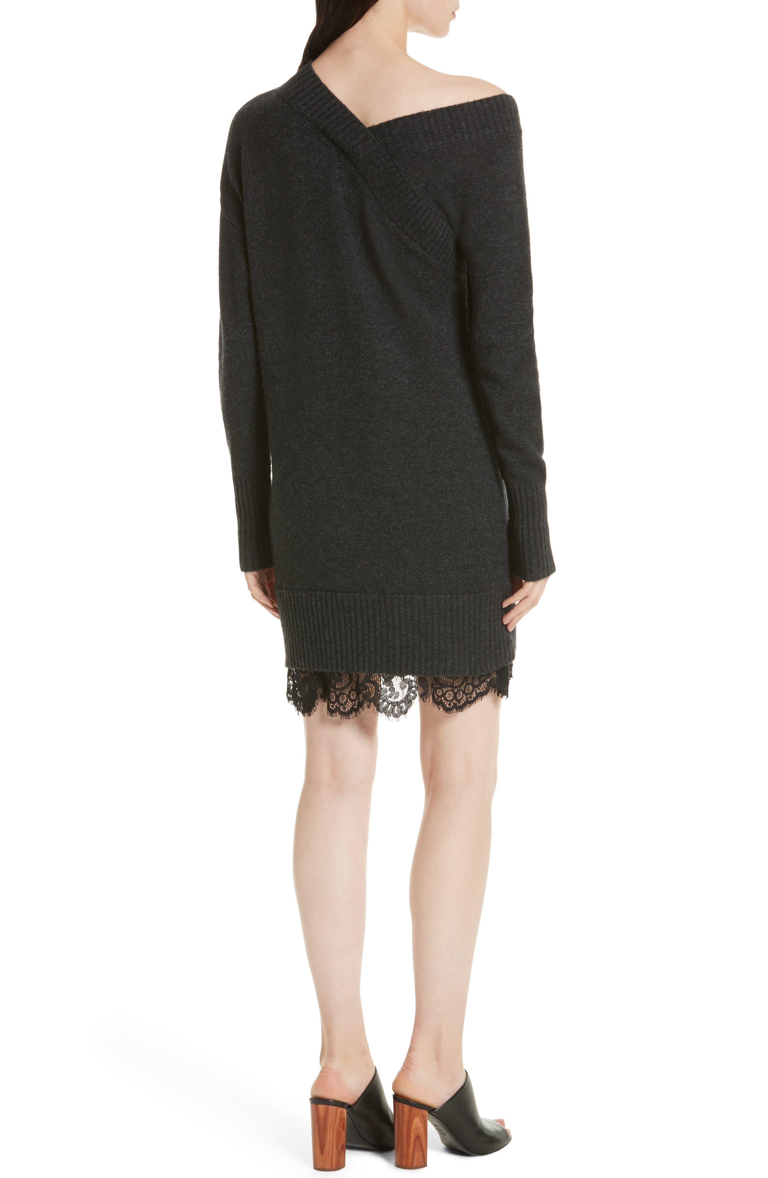 One-Shoulder Sweater Dress,                             Alternate thumbnail 2, color,                             009
