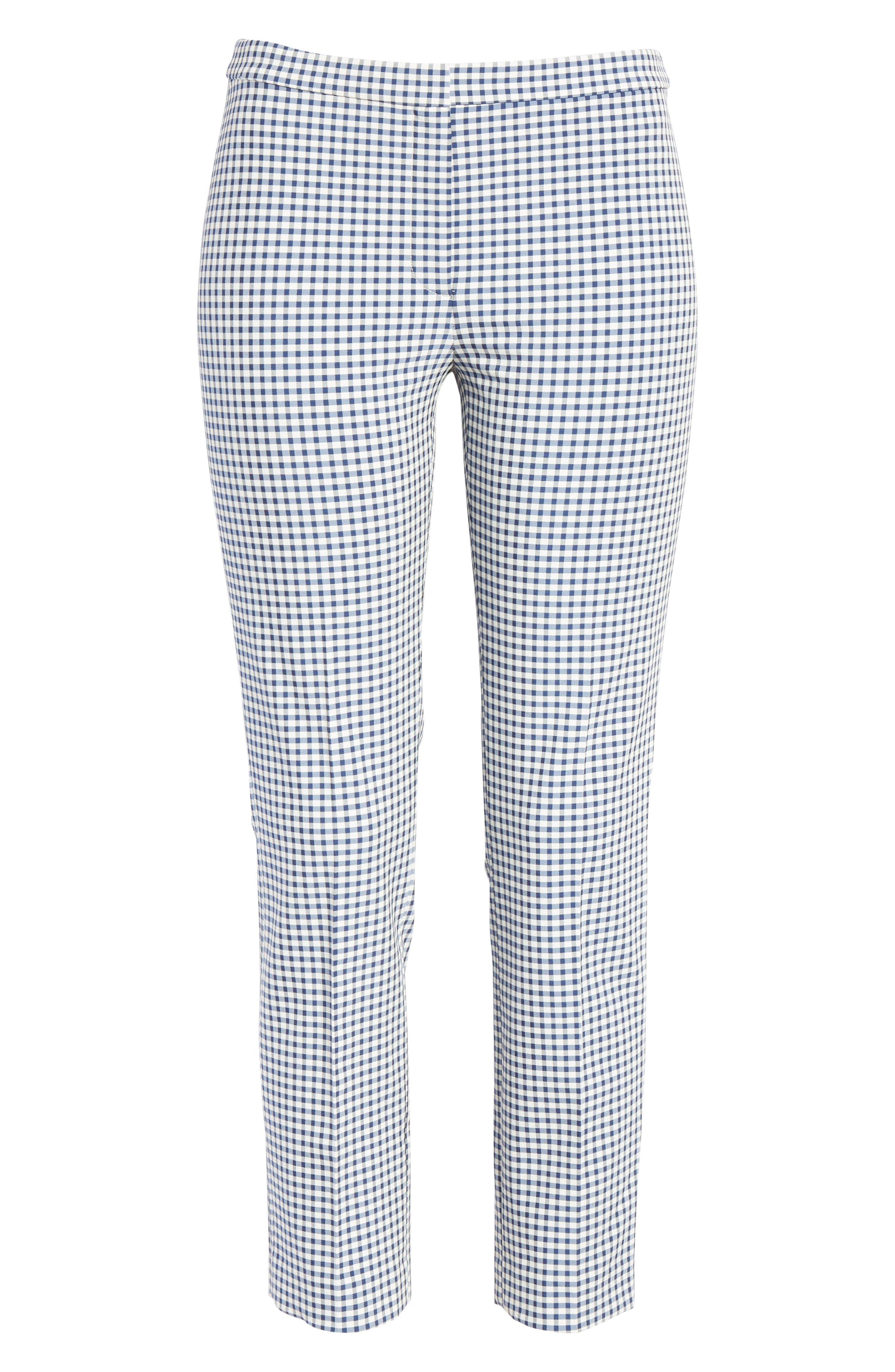 Gingham Check Skinny Pants,                             Alternate thumbnail 6, color,                             BLUE MULTI