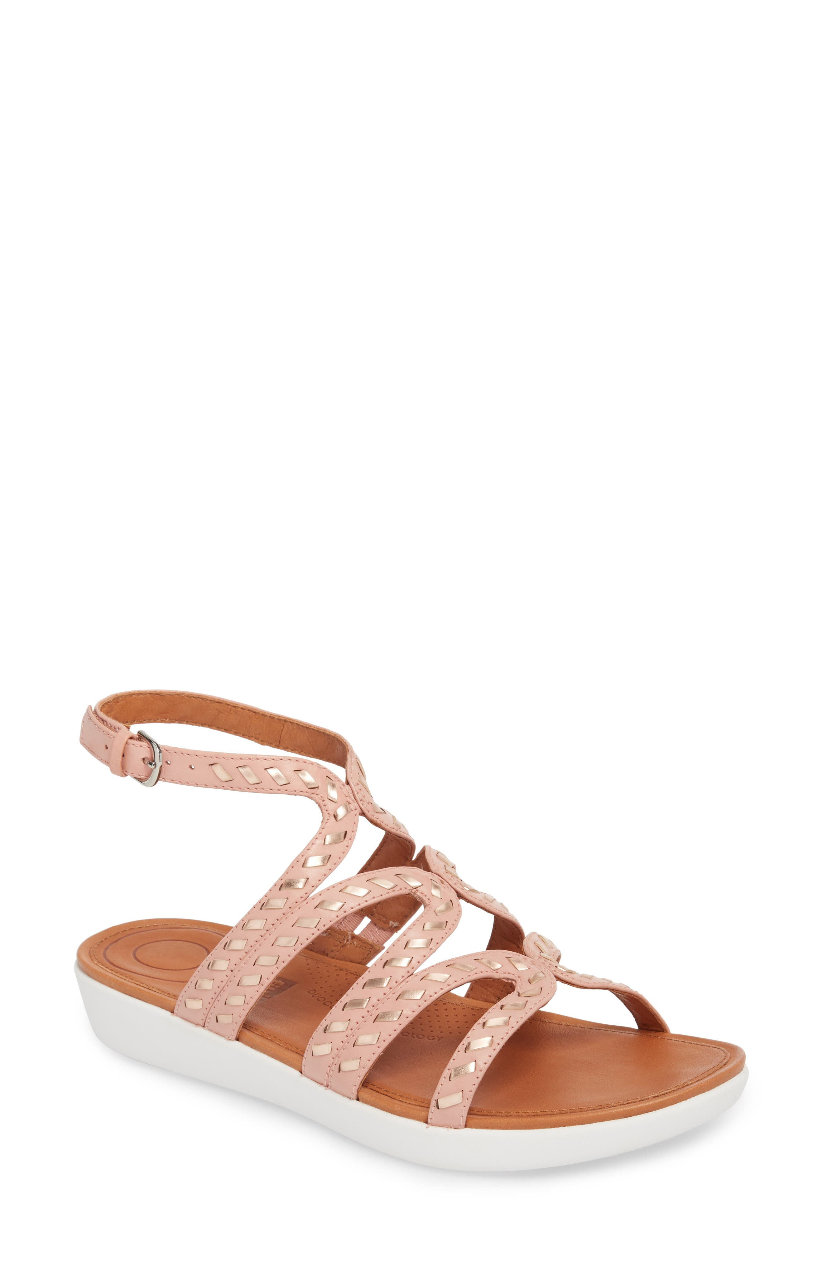 FITFLOP,                             Strata Gladiator Sandal,                             Main thumbnail 1, color,                             DUSKY PINK LEATHER