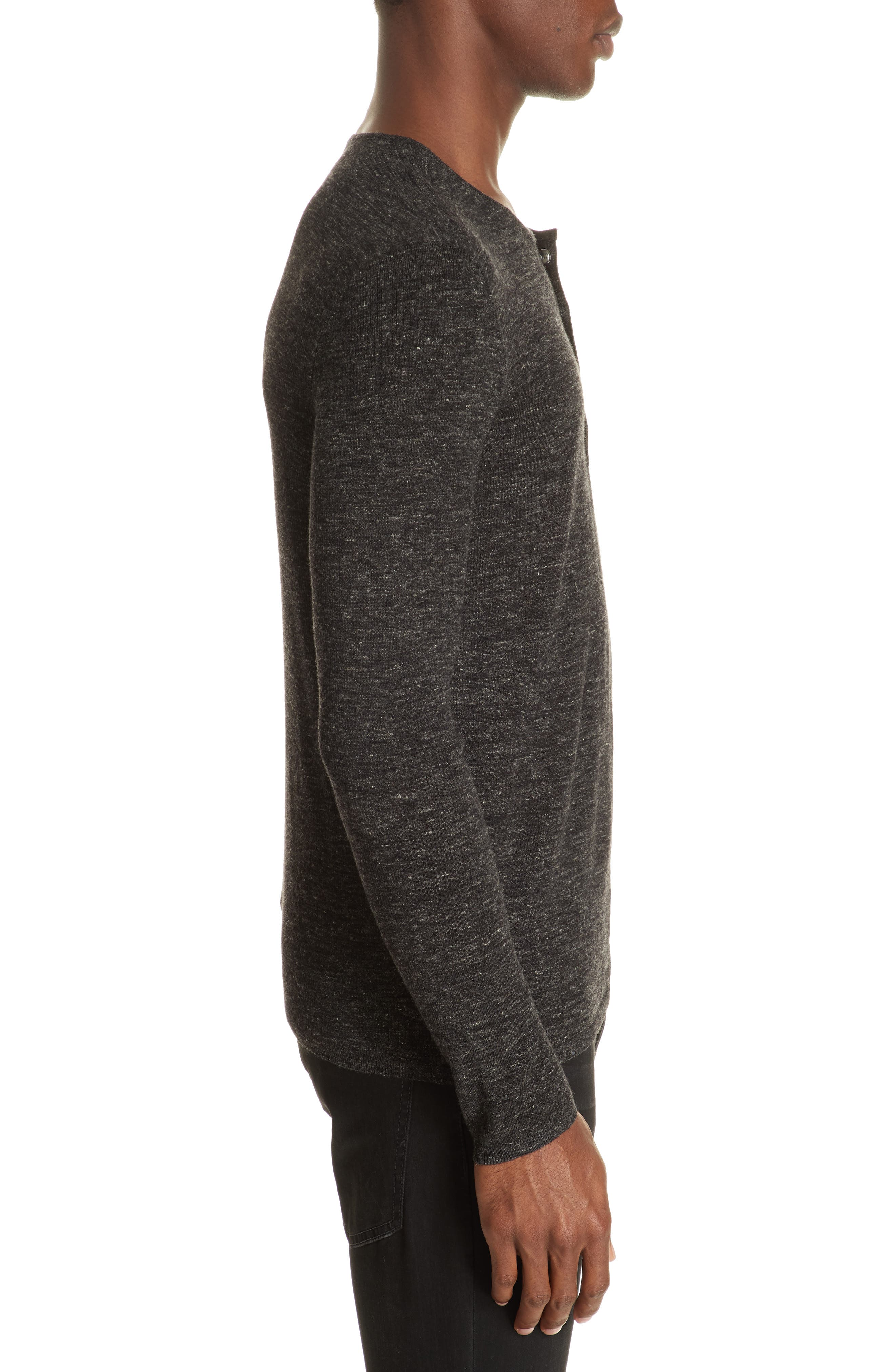 Mélange Henley Sweater,                             Alternate thumbnail 4, color,                             DARK CHARCOAL
