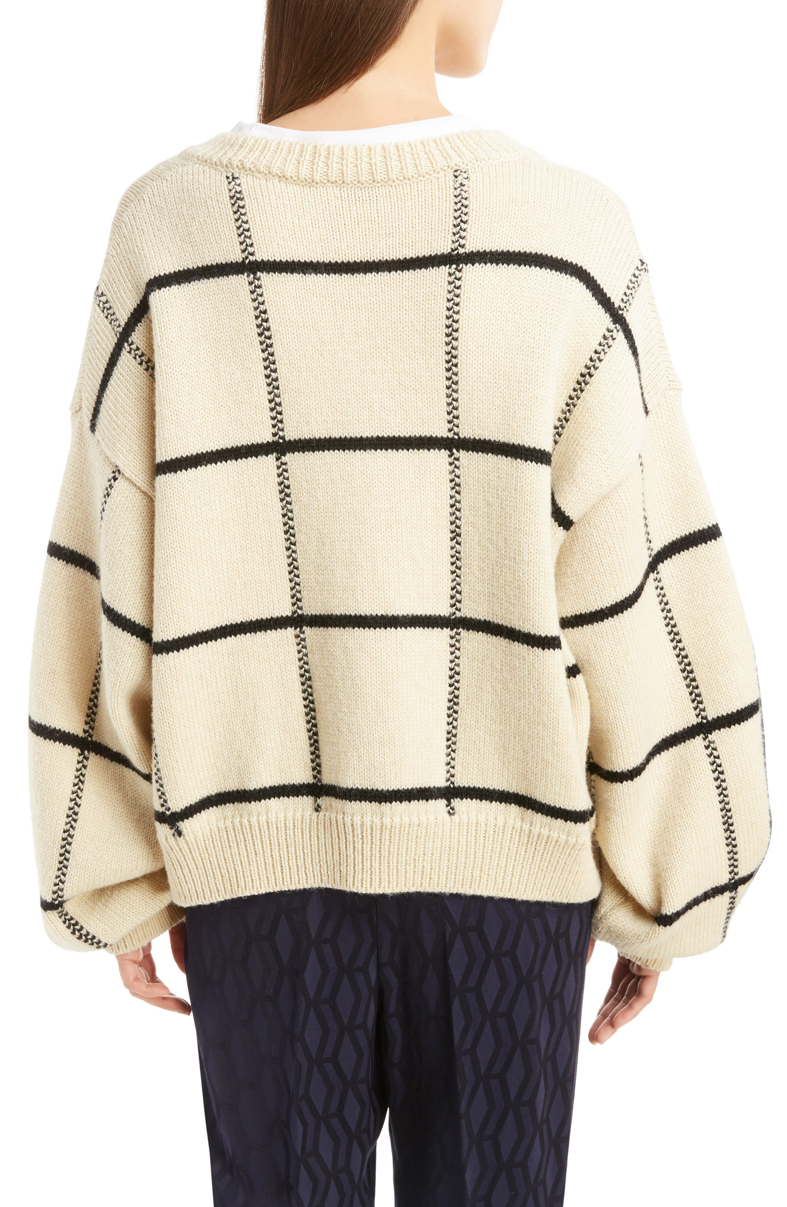 Windowpane Knit Wool Sweater,                             Alternate thumbnail 4, color,