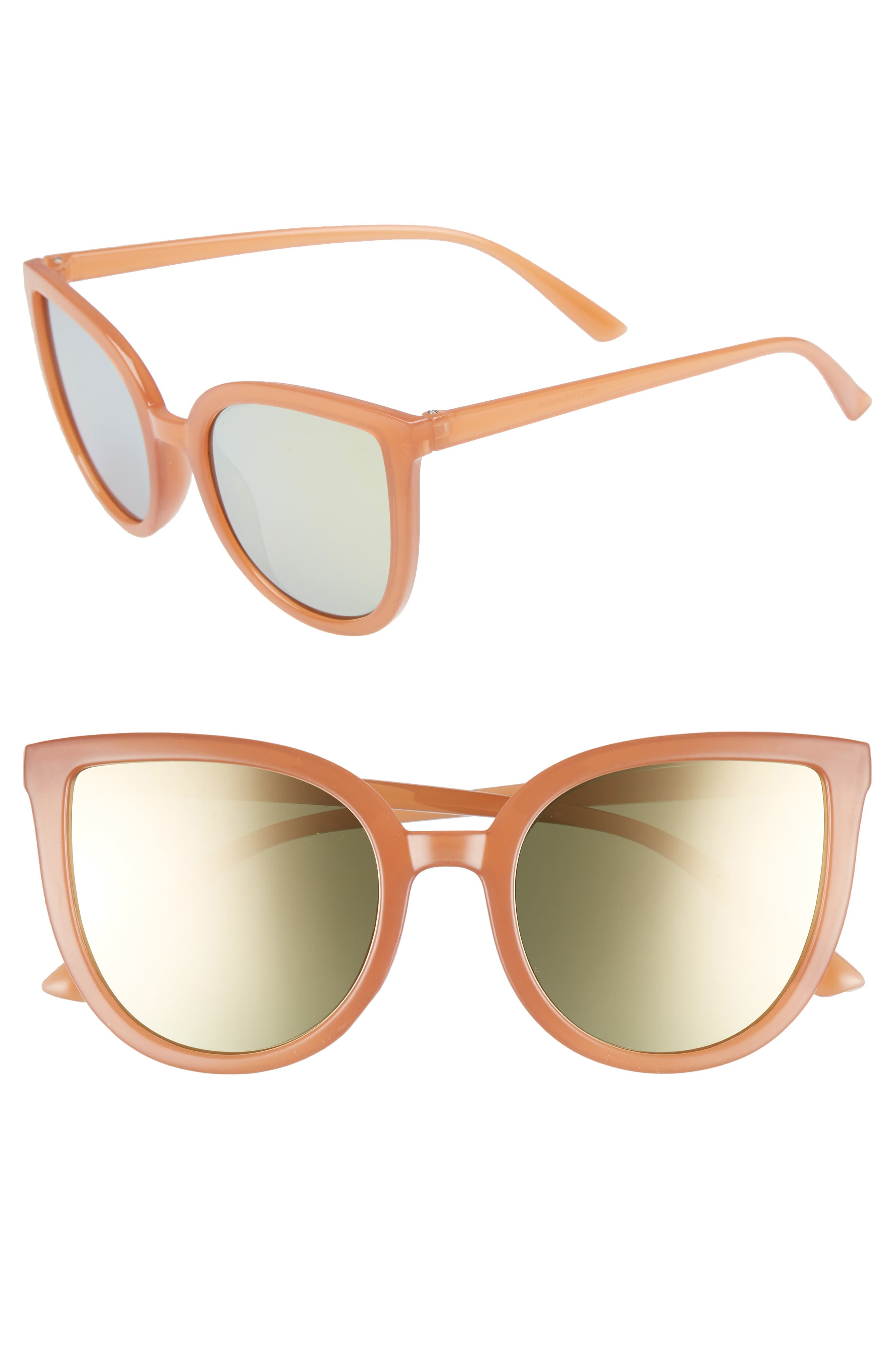 Thin Cat Eye Sunglasses,                         Main,                         color, MILKY PEACH/ GOLD