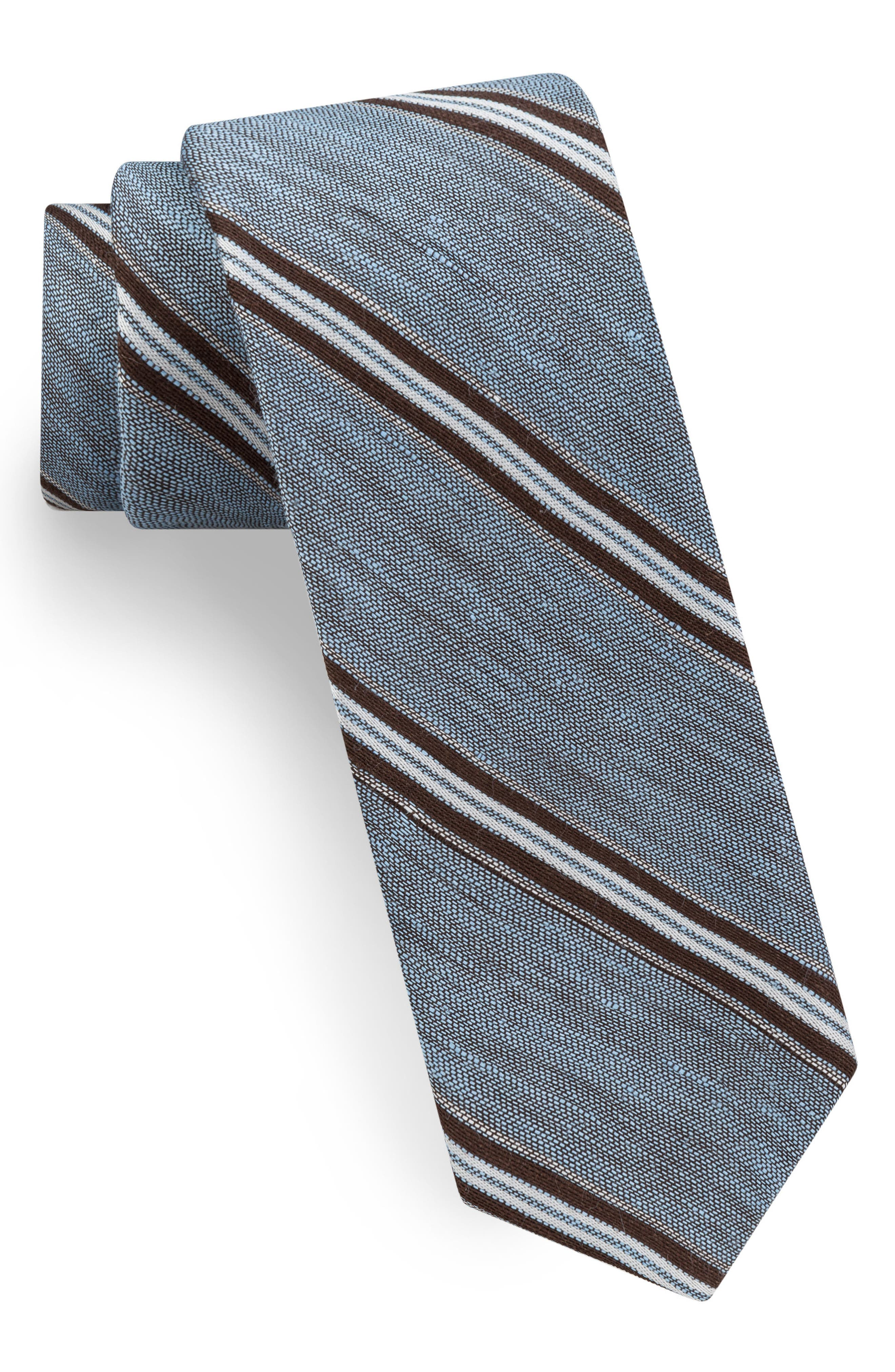 Stripe Linen & Silk Tie,                             Alternate thumbnail 2, color,                             435