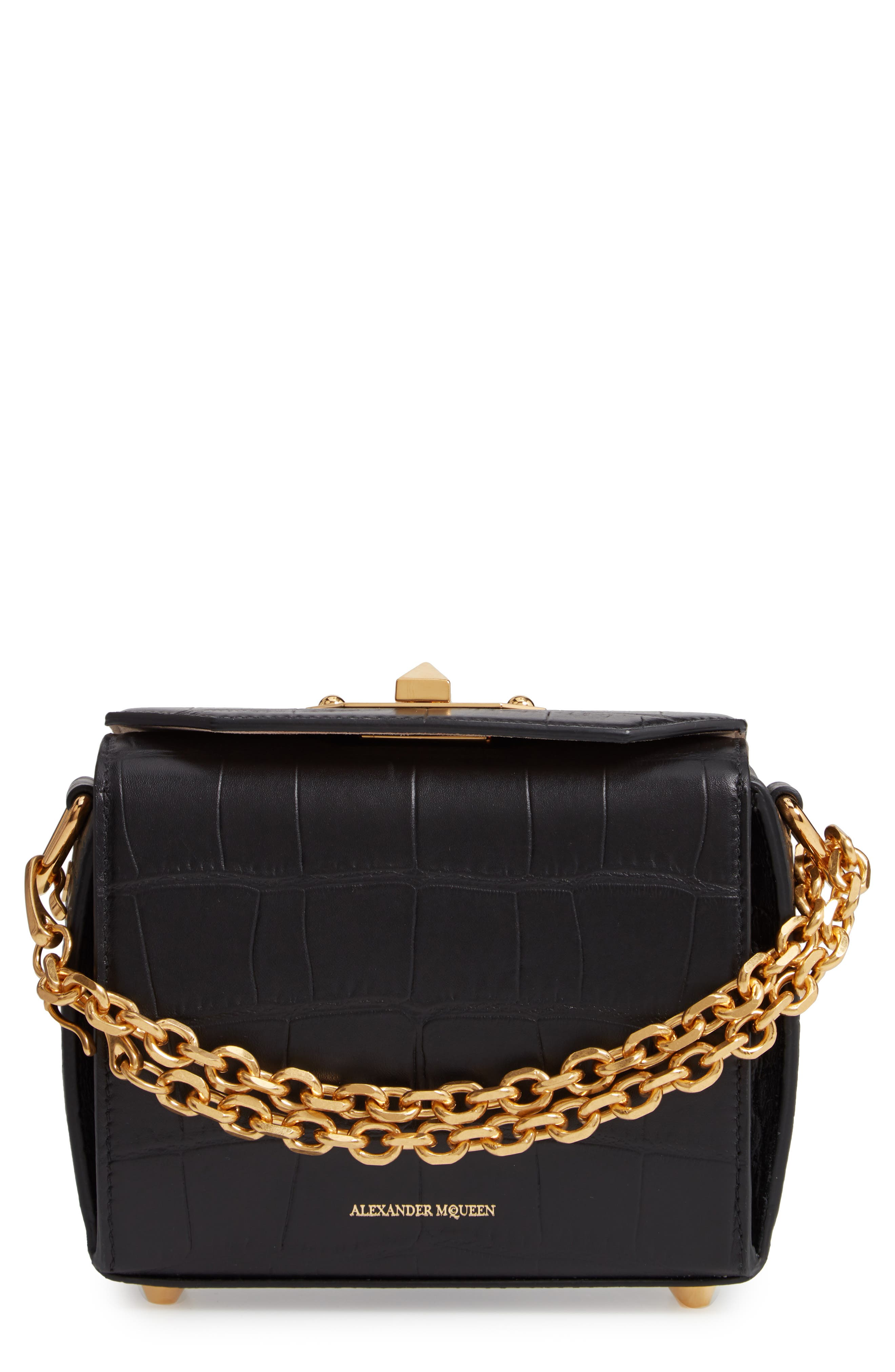 ALEXANDER MCQUEEN Mini Box Croc-Embossed Leather Bag, Main, color, 001