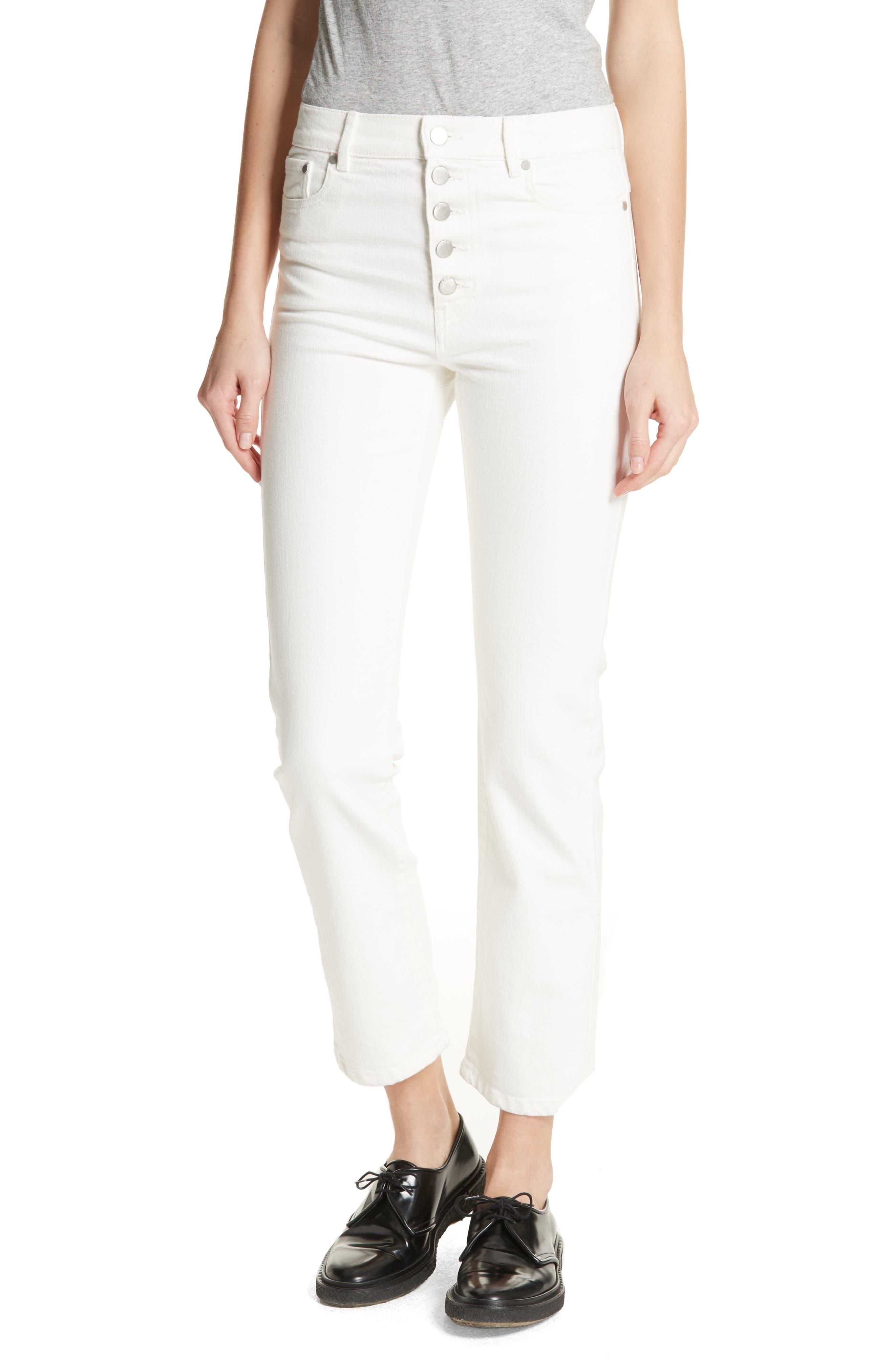 White Denim Jeans,                             Main thumbnail 1, color,                             100