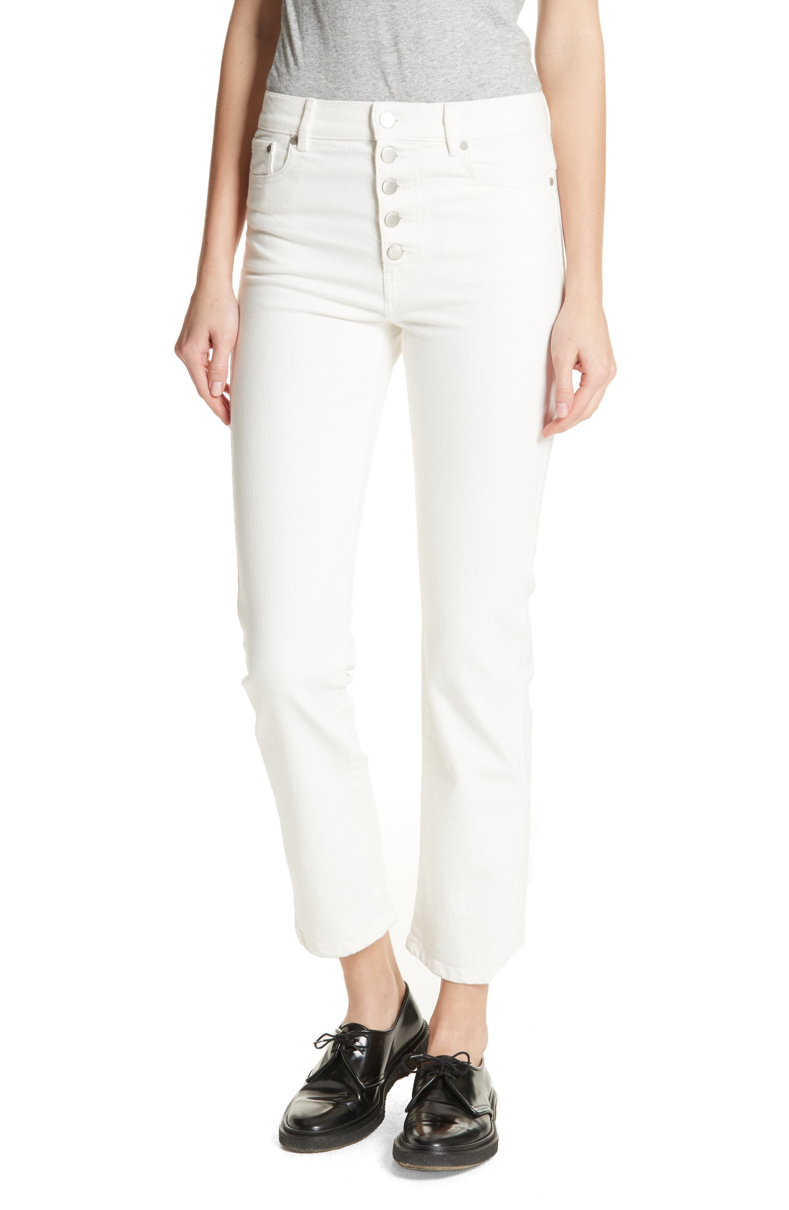 White Denim Jeans,                         Main,                         color, 100
