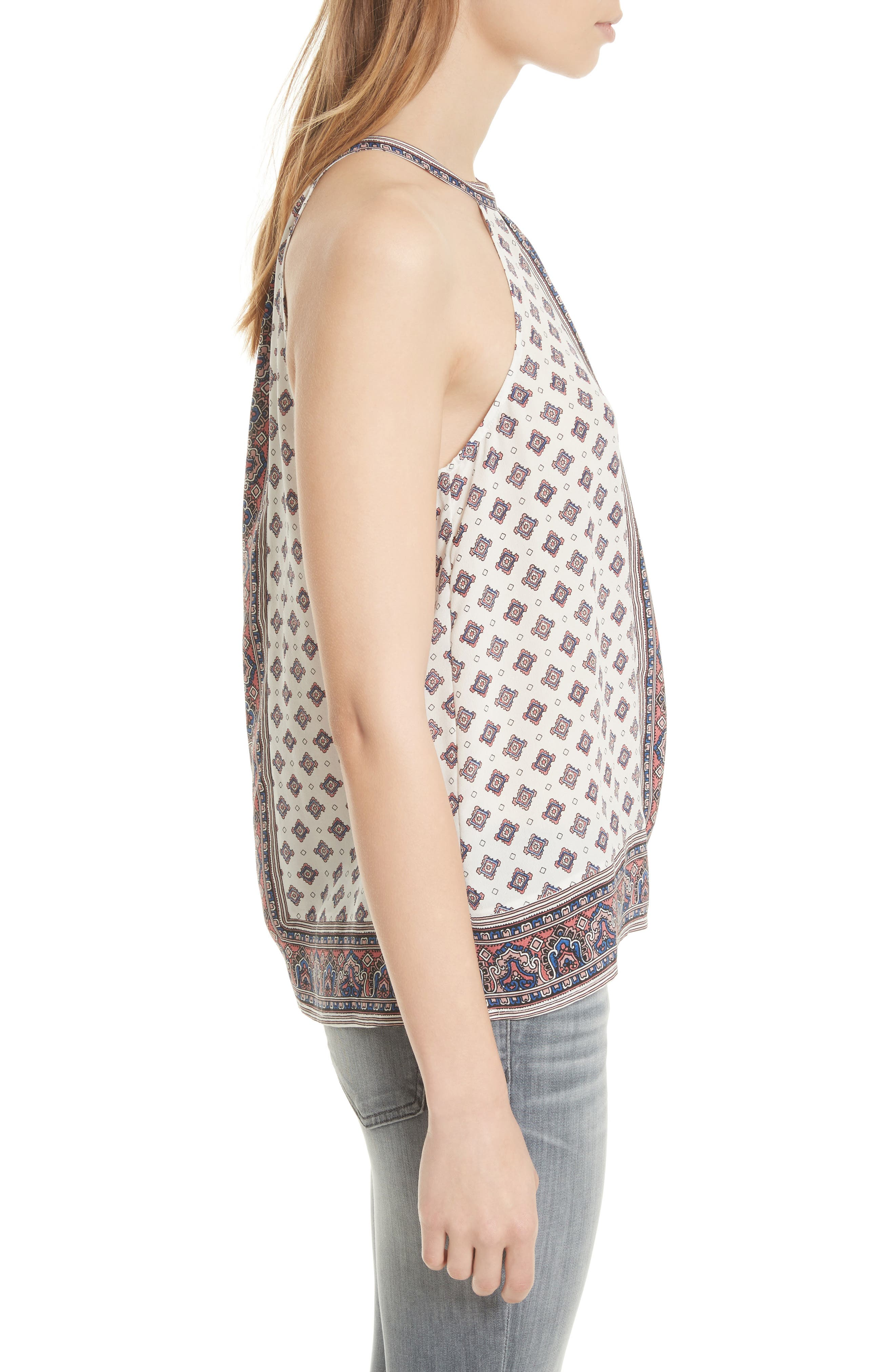 Bradie Border Print Silk Top,                             Alternate thumbnail 3, color,