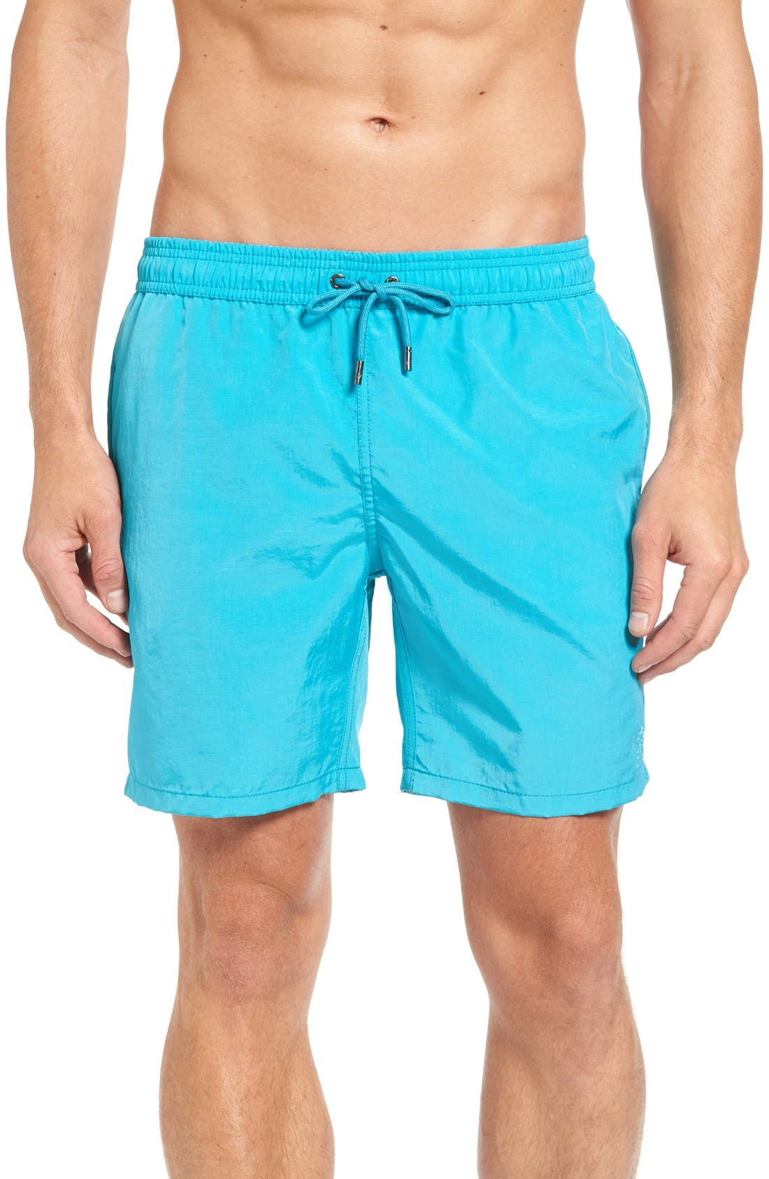 Cerulean Solid Swim Trunks,                             Main thumbnail 1, color,                             450
