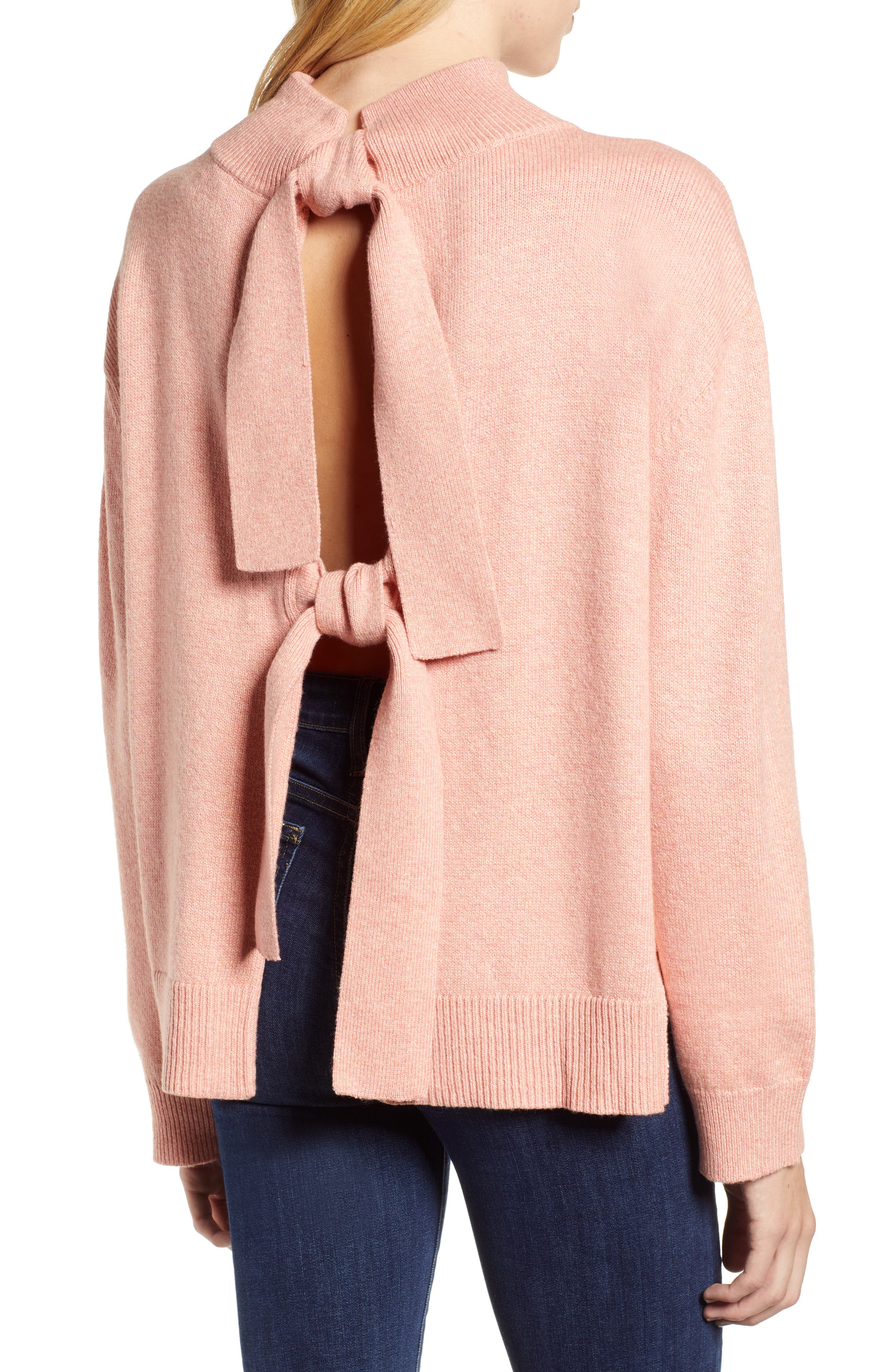 Tie Back Cotton Blend Sweater,                             Alternate thumbnail 2, color,                             PINK BISQUE HEATHER