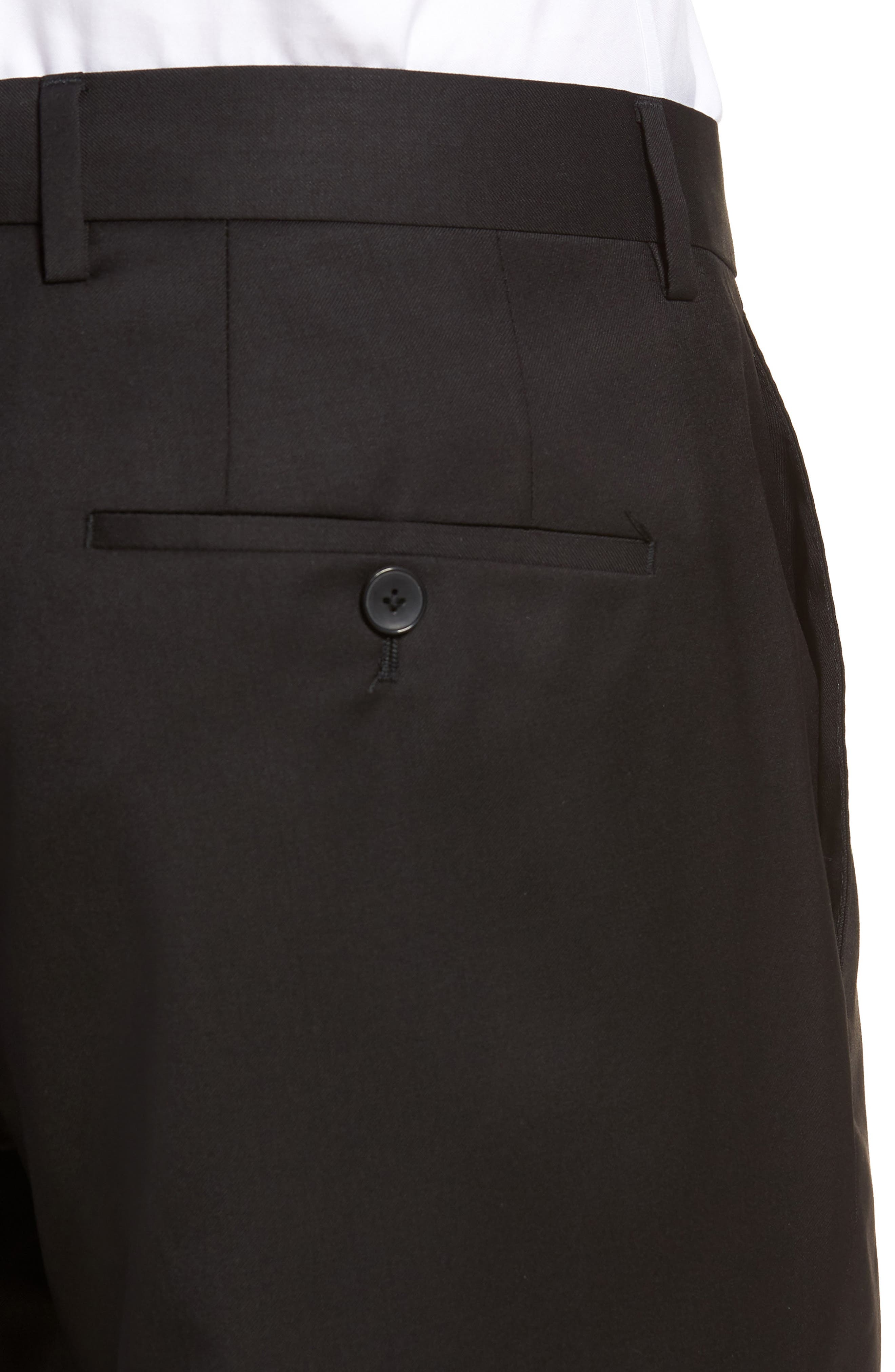 BOSS,                             Gibson CYL Flat Front Solid Wool Trousers,                             Alternate thumbnail 4, color,                             BLACK