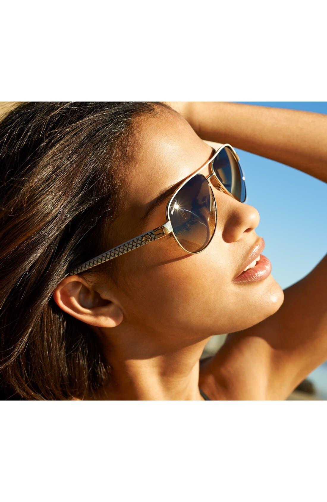 Metal 58mm Aviator Sunglasses,                             Alternate thumbnail 2, color,                             001