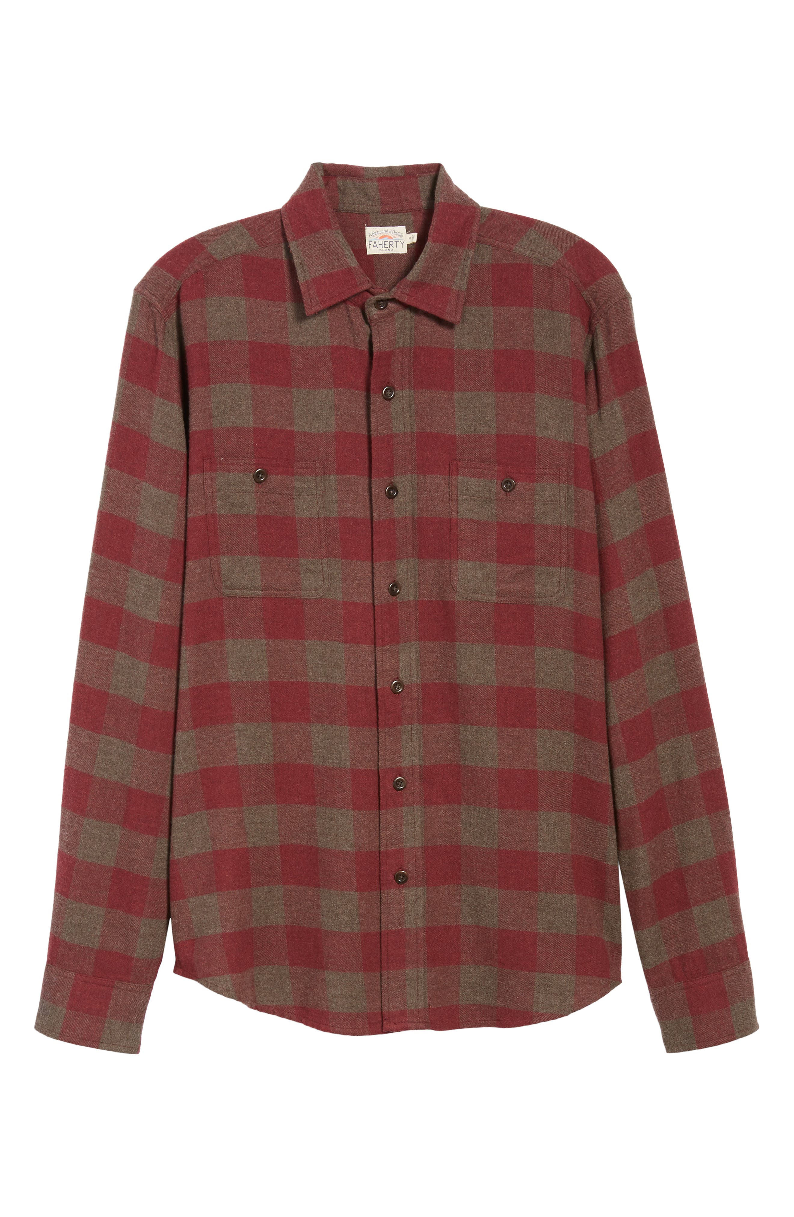 Seasons Regular Fit Check Flannel Shirt,                             Alternate thumbnail 5, color,                             WINE CHESTNUT BUFFALO