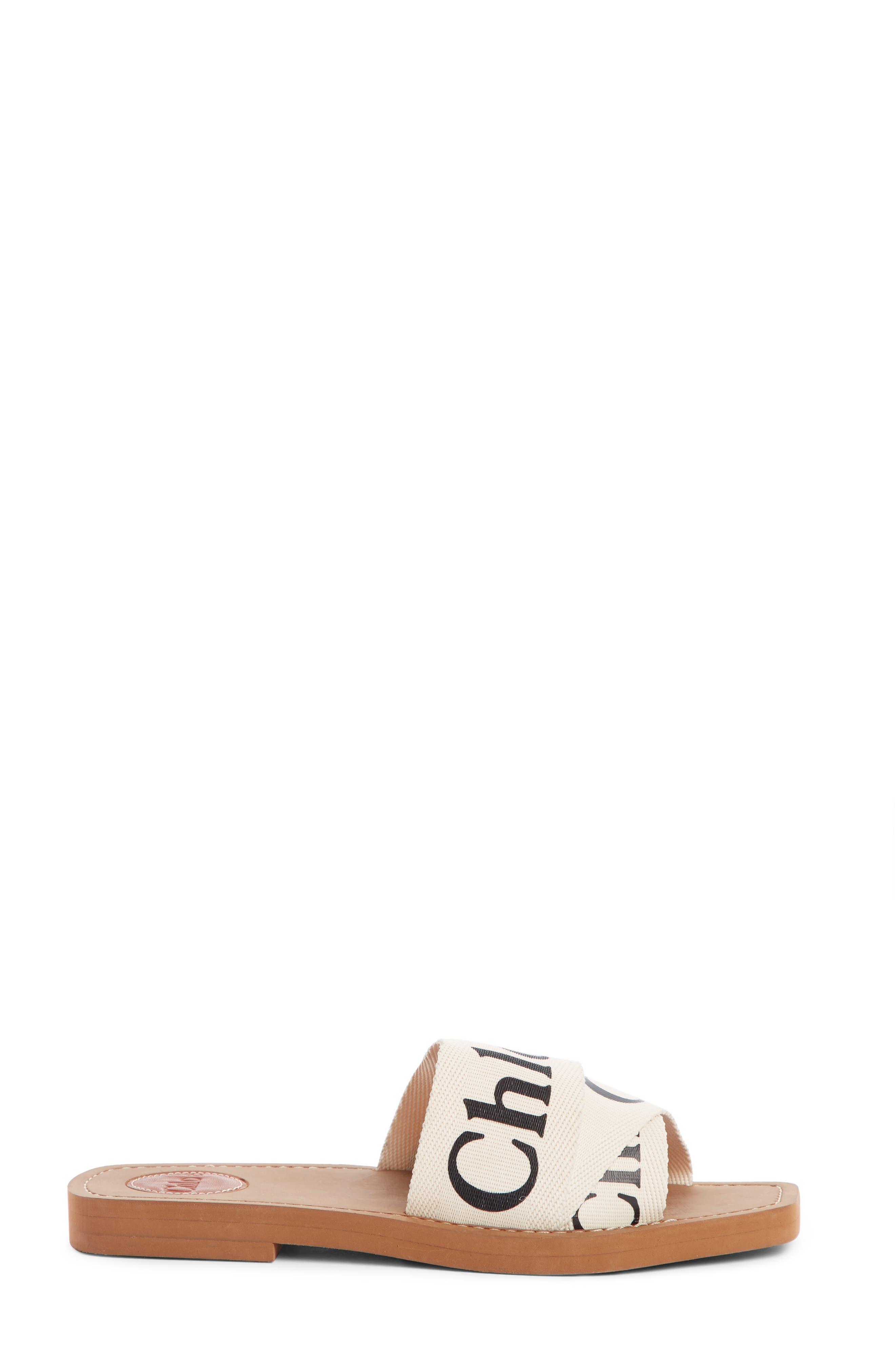 CHLOÉ,                             Logo Slide Sandal,                             Alternate thumbnail 3, color,                             WHITE