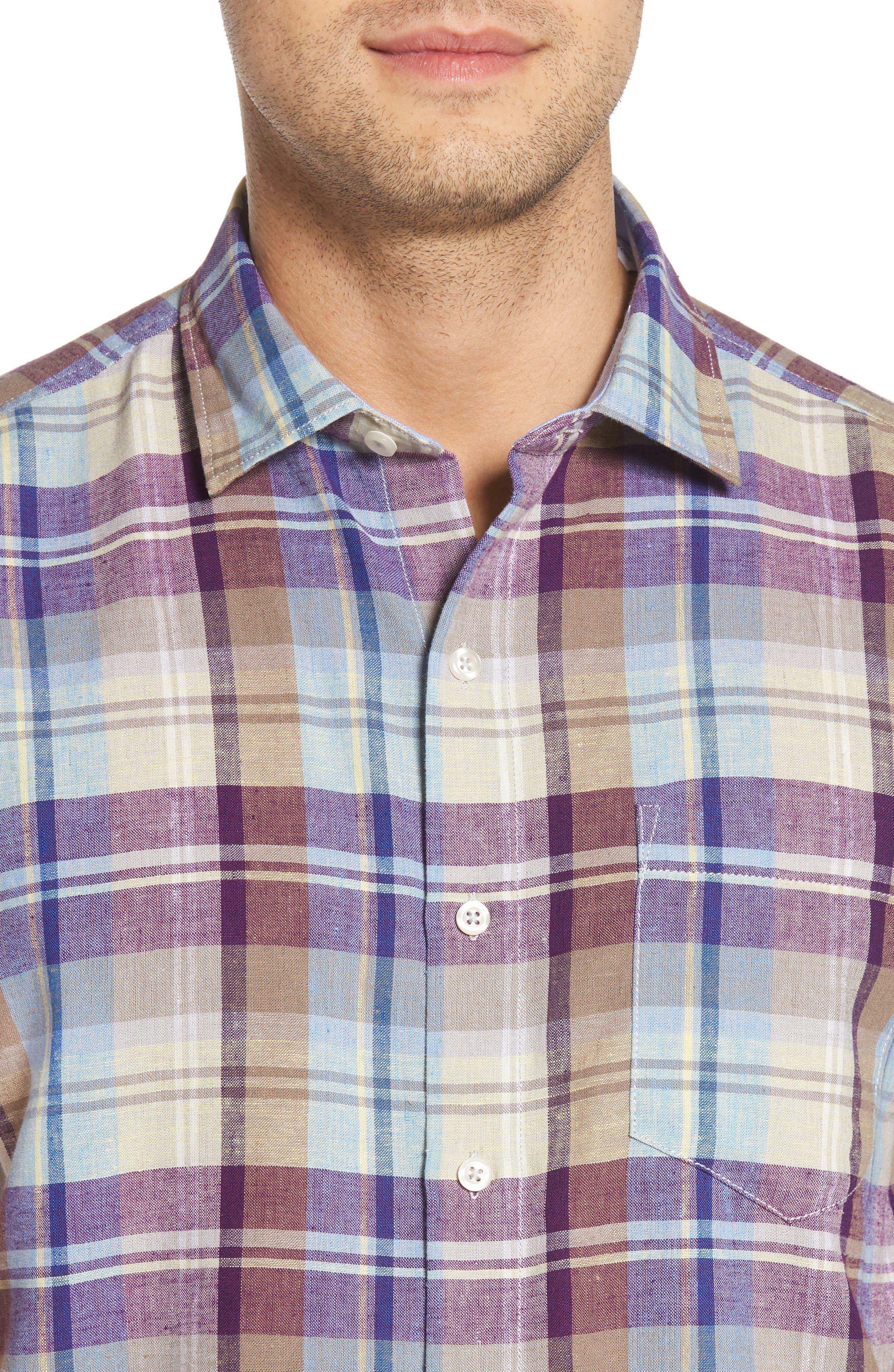 La Paz Plaid Linen Blend Sport Shirt,                             Alternate thumbnail 4, color,                             500