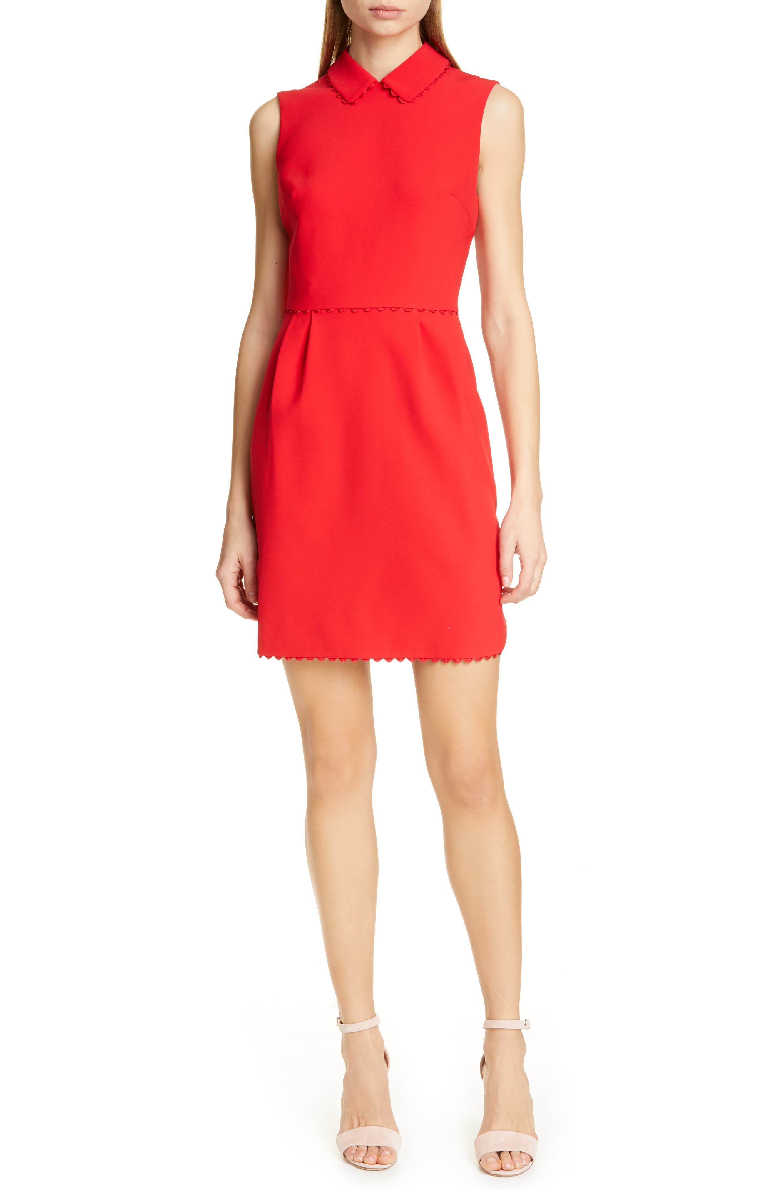 Ted Baker London Ezzy Scalloped Detail Dress, Red
