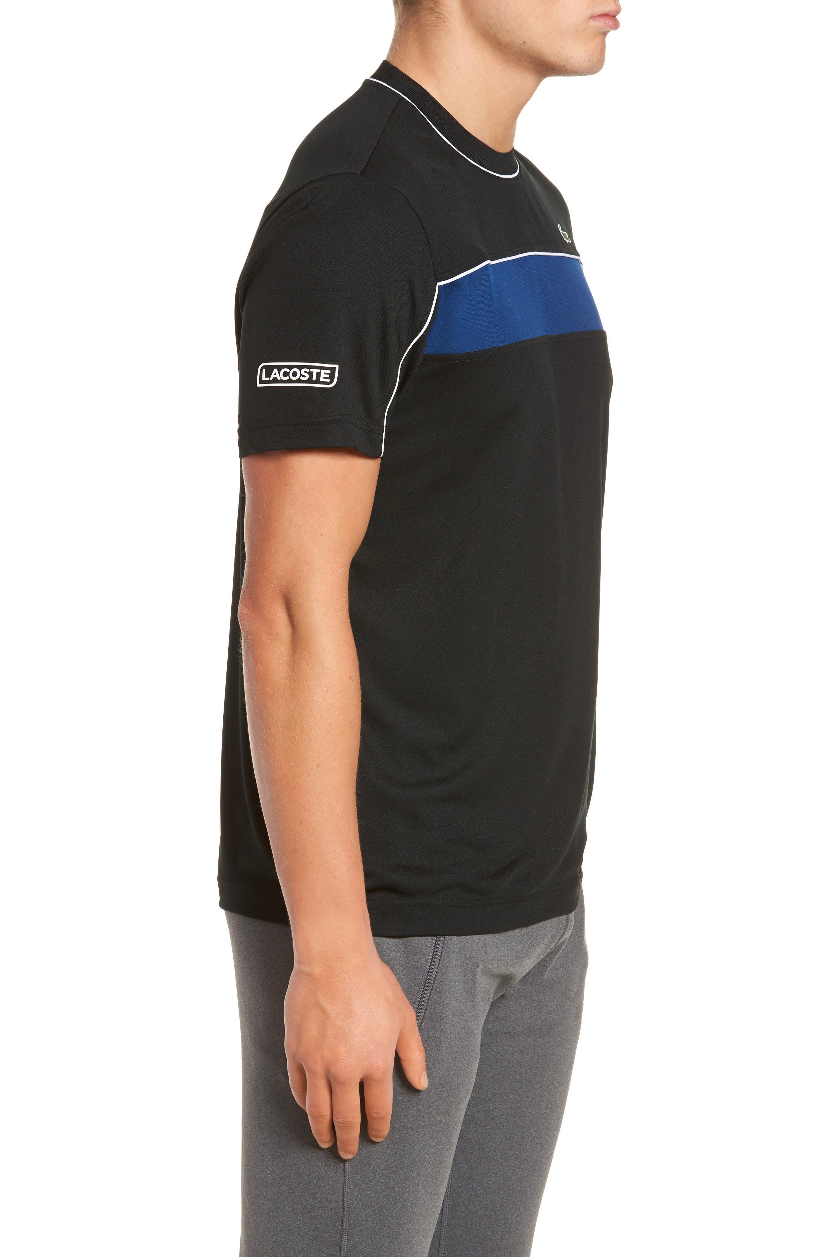 Piqué T-Shirt,                             Alternate thumbnail 3, color,                             BLACK/ MARINO/ WHITE