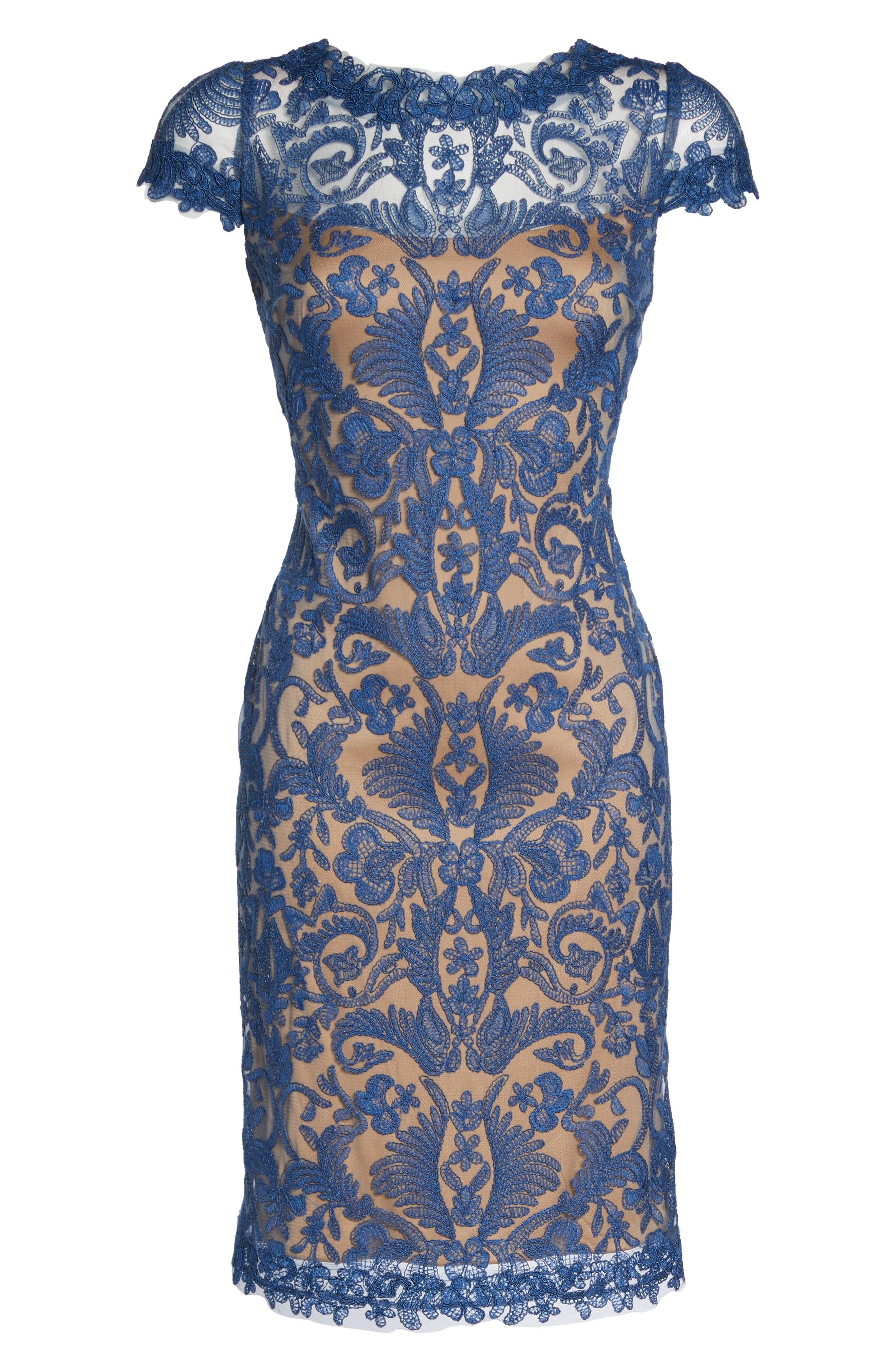 Illusion Yoke Lace Sheath Dress,                             Alternate thumbnail 101, color,
