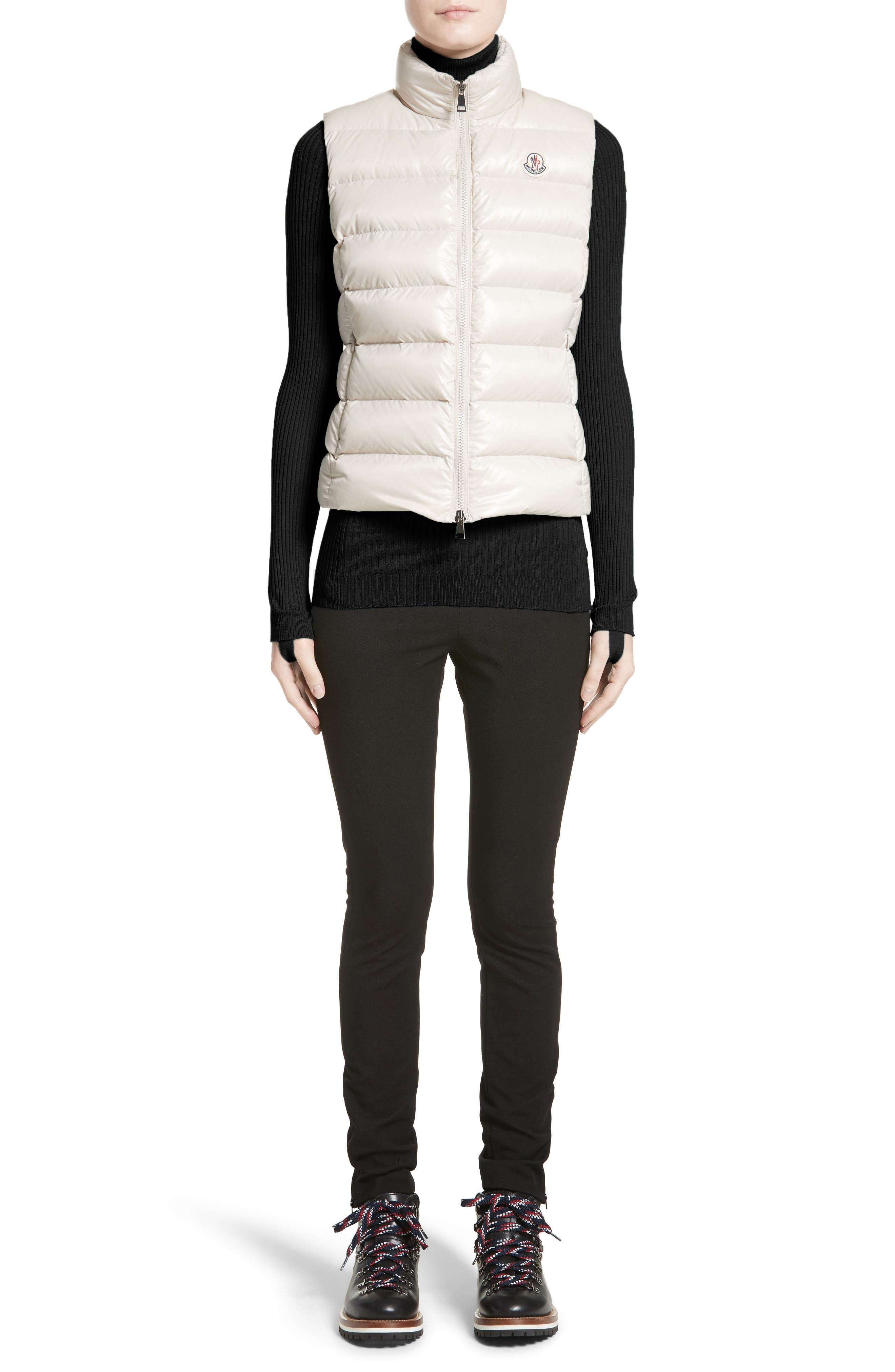 Ghany Water Resistant Shiny Nylon Down Puffer Vest,                             Alternate thumbnail 6, color,                             BEIGE