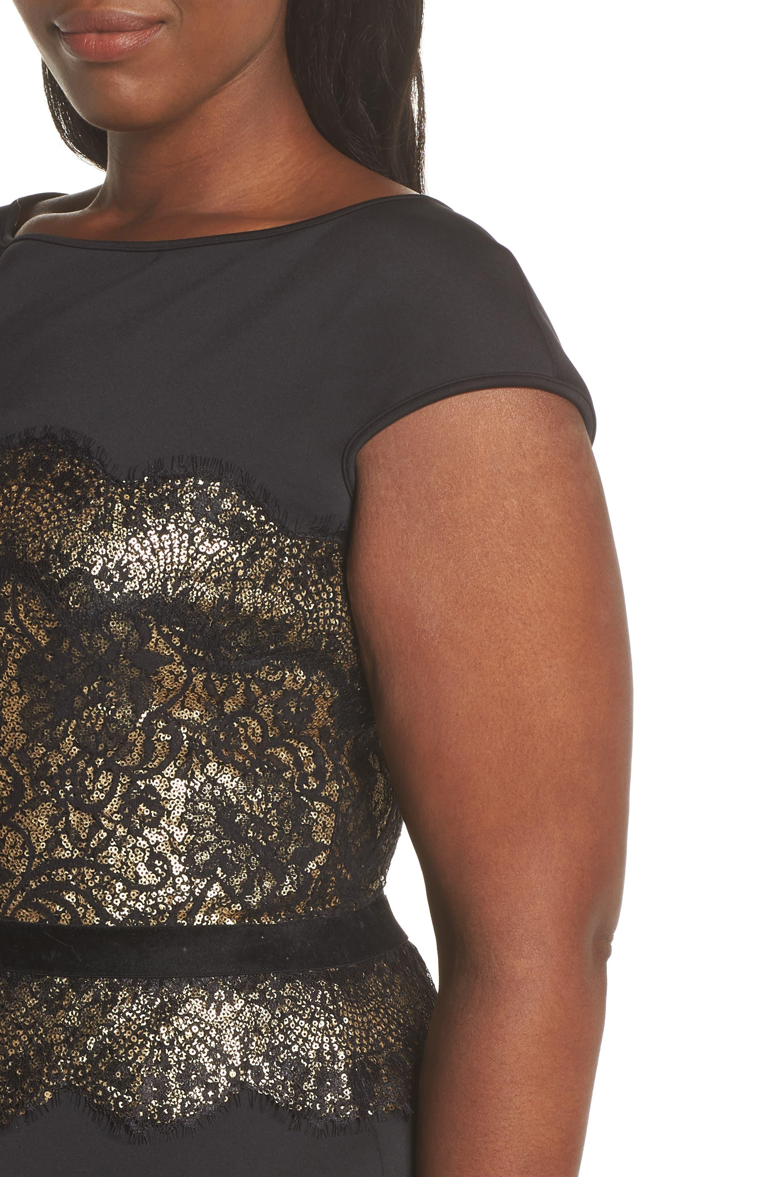 Lace Inset Scuba Dress,                             Alternate thumbnail 11, color,                             BLACK/ GOLD