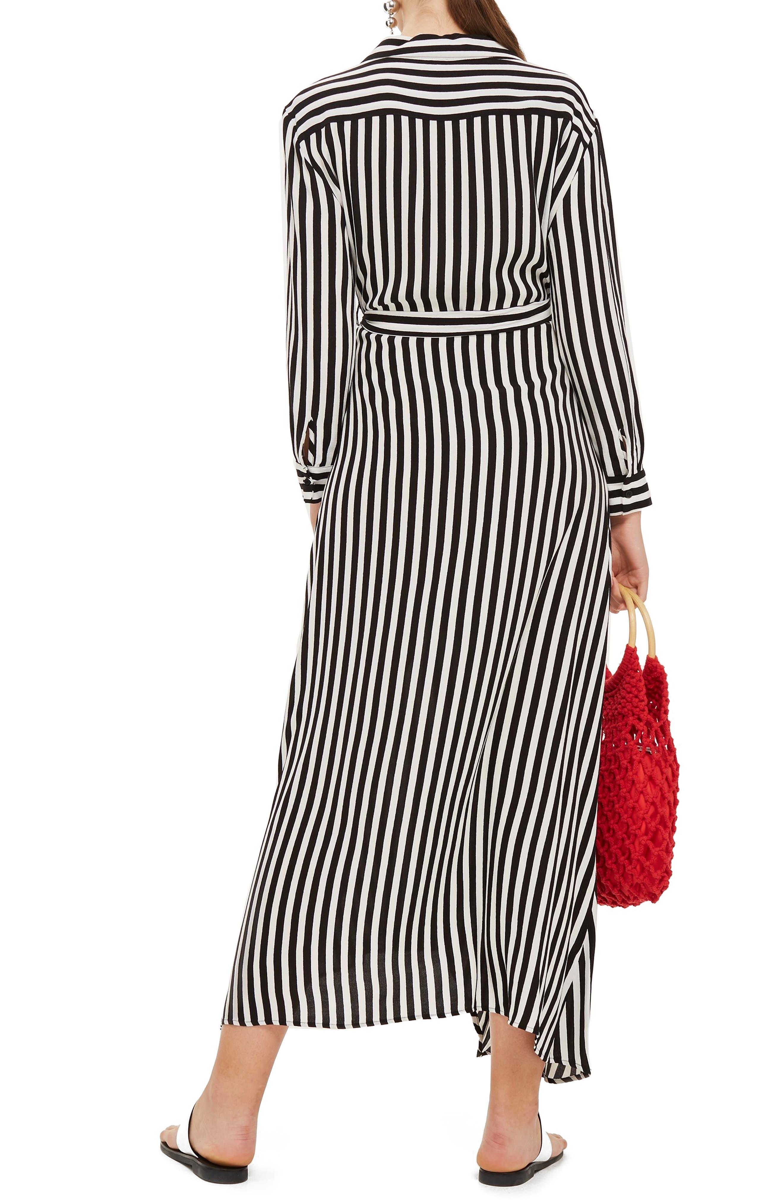Stripe Wrap Midi Shirtdress,                             Alternate thumbnail 2, color,                             BLACK MULTI