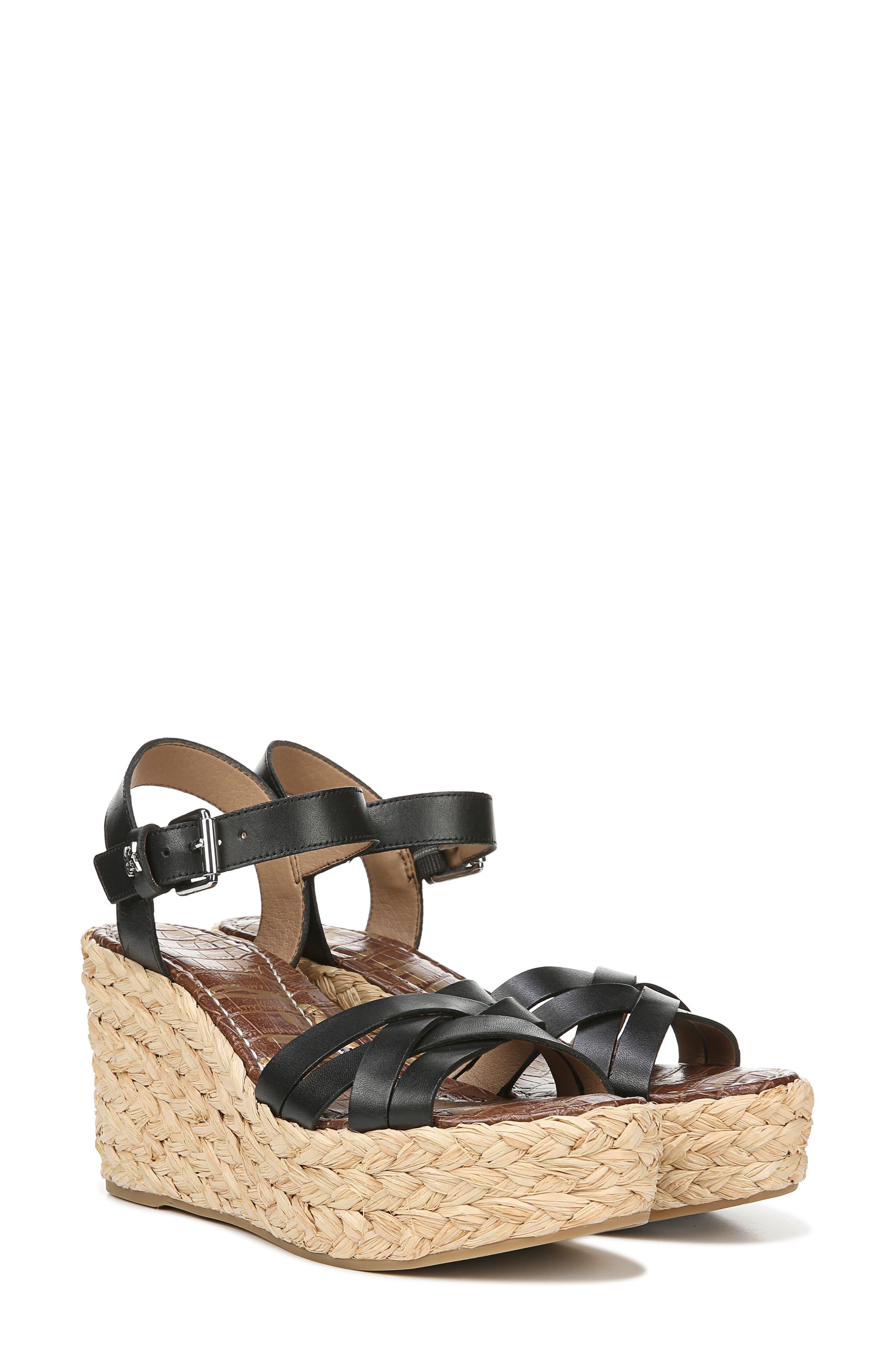 SAM EDELMAN,                             Darline Platform Wedge Sandal,                             Alternate thumbnail 7, color,                             BLACK LEATHER