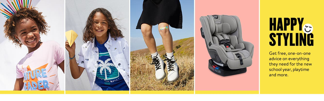 Preview Anniversary Sale for kids now. Happy styling: get free, one-on-one advice on everything they need for the new school year, playtime and more.