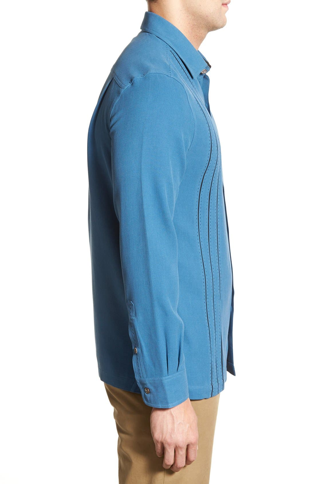 'Weber' Regular Fit Long Sleeve Silk & Cotton Sport Shirt,                             Alternate thumbnail 4, color,                             433