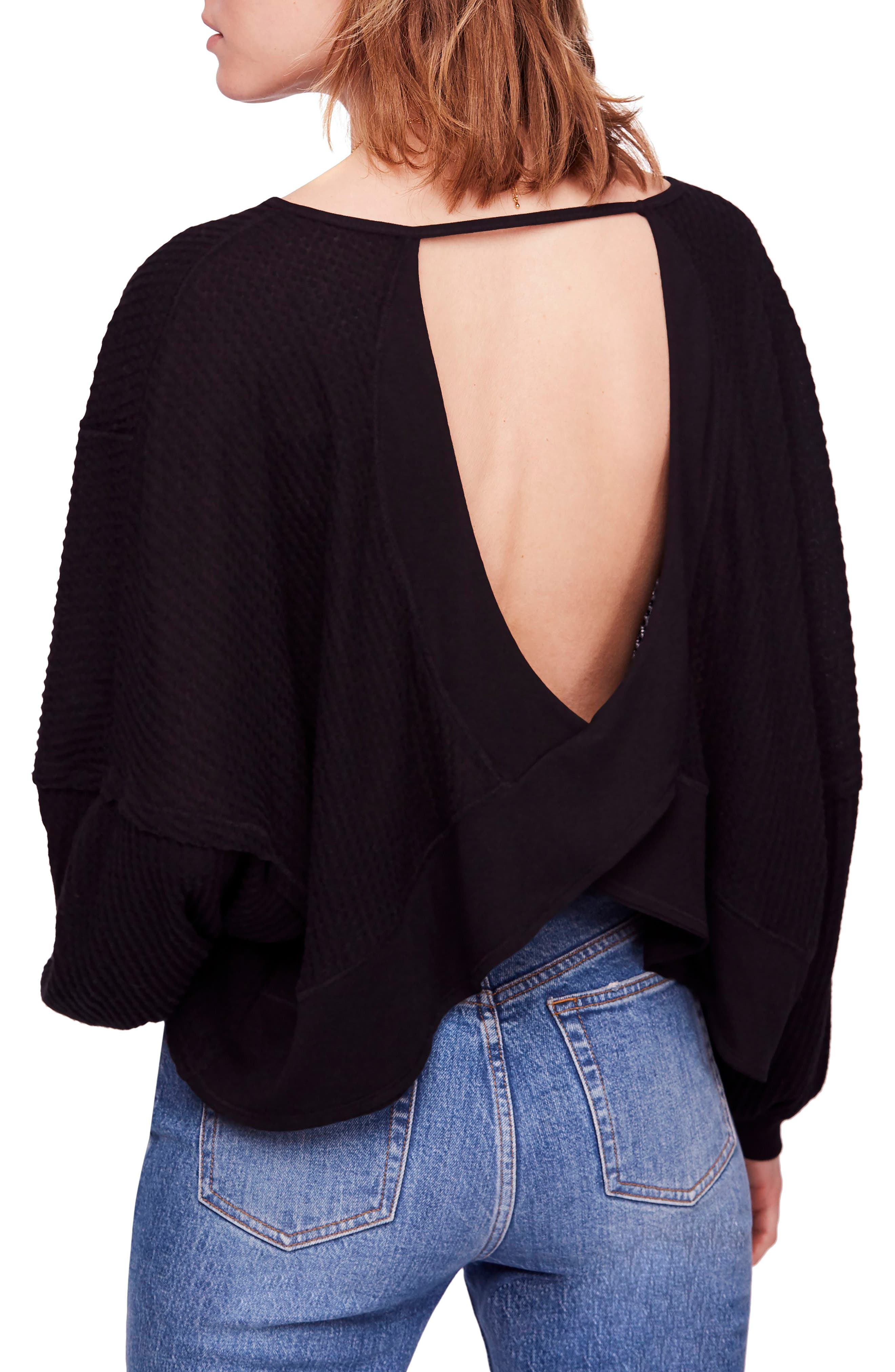 We the Free by Free People Love Me Thermal Top,                             Alternate thumbnail 2, color,                             BLACK
