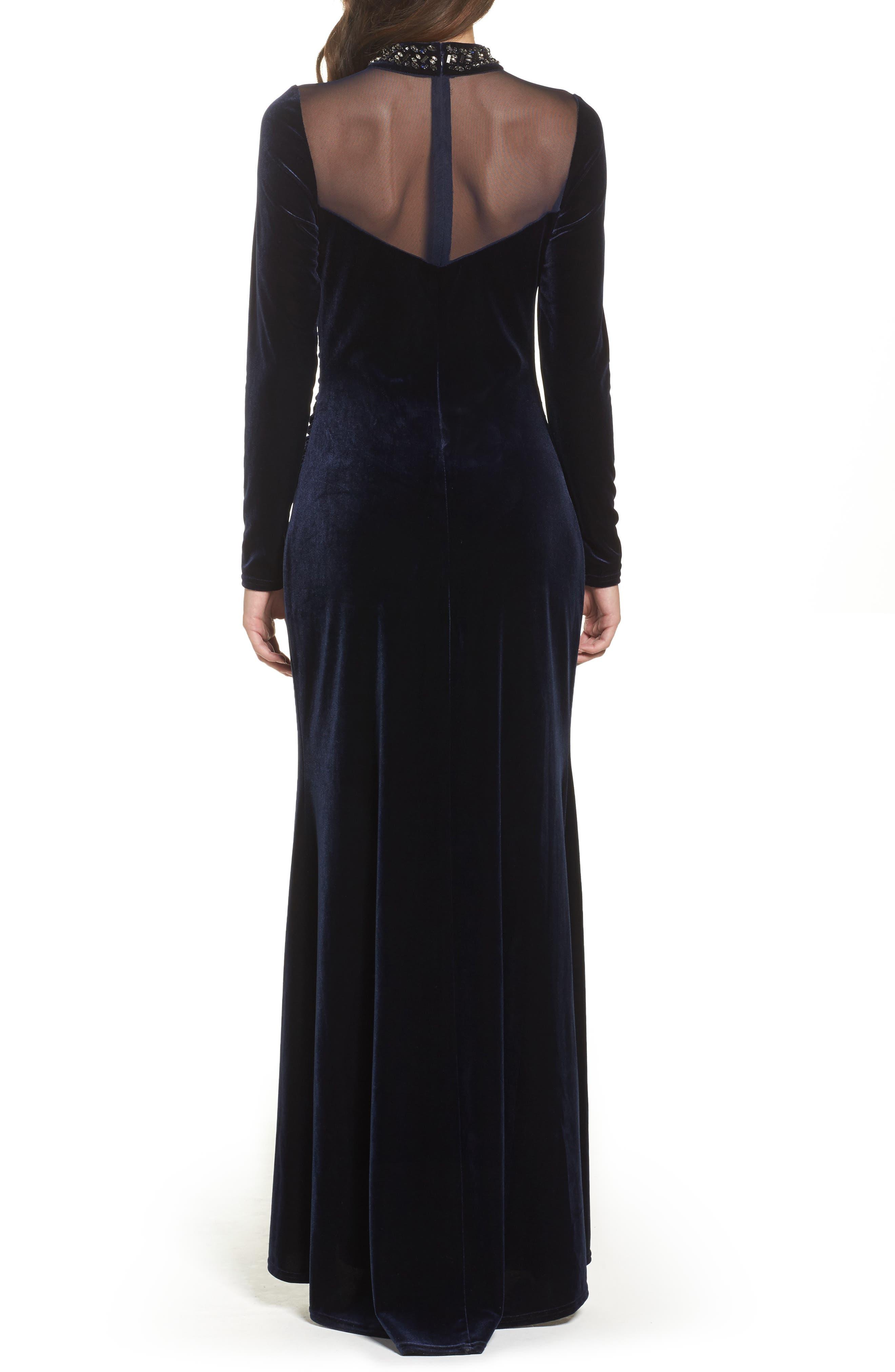 Mesh Panel Embellished Velvet Gown,                             Alternate thumbnail 2, color,                             410