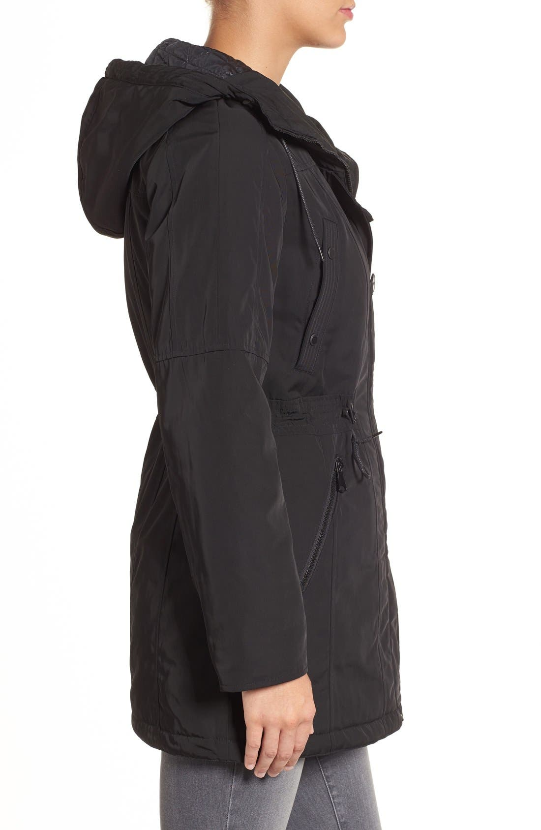 Marc New York by Andrew Marc 'Chrissy' Rain Coat with Removable Hood,                             Alternate thumbnail 3, color,                             001