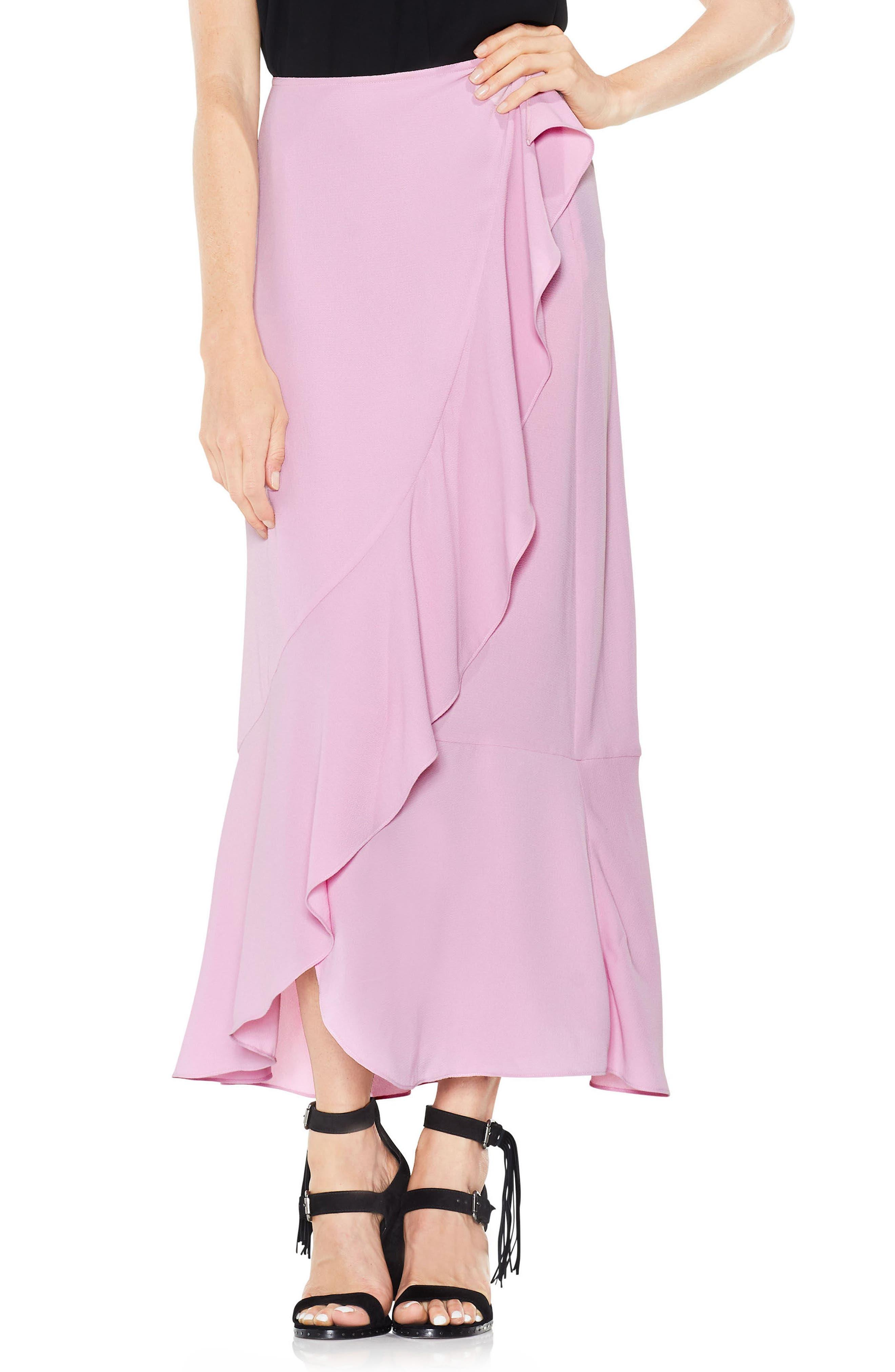 Ruffle Faux Wrap Skirt,                             Main thumbnail 2, color,