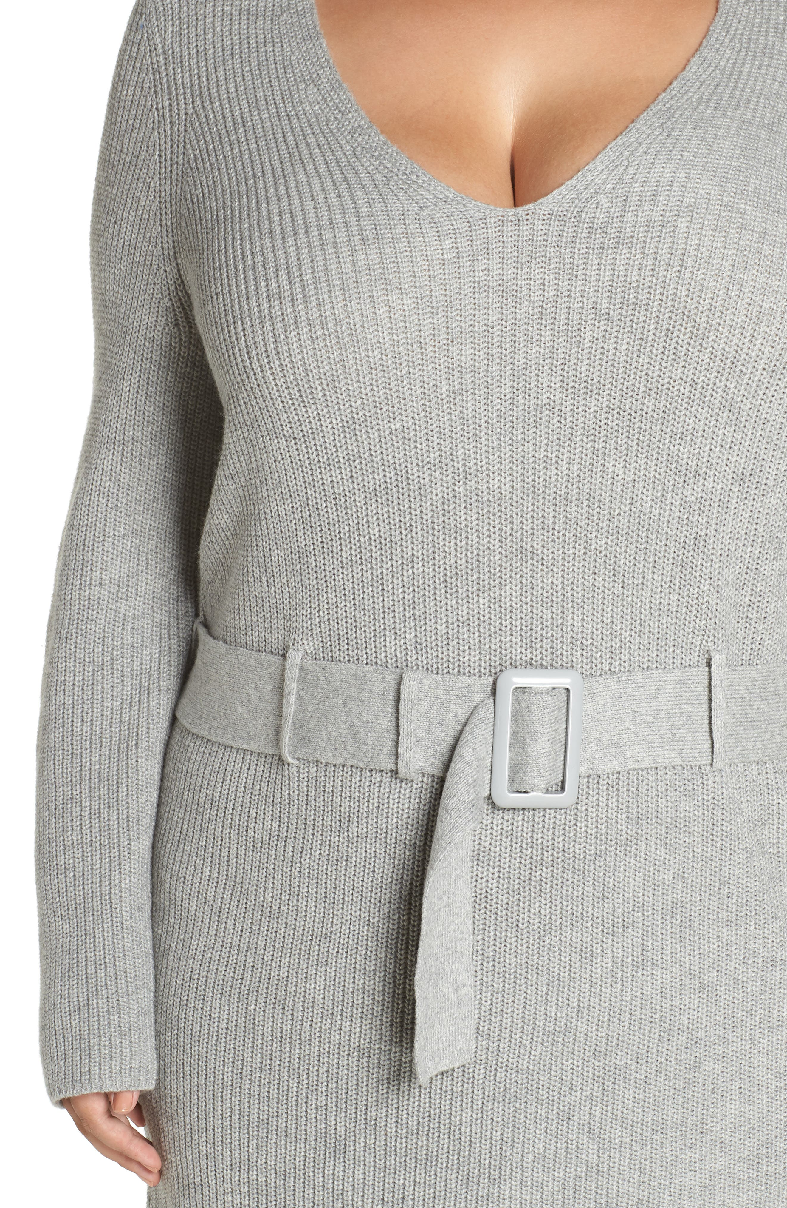 Belted Sweater Dress,                             Alternate thumbnail 4, color,                             GREY MEDIUM HEATHER