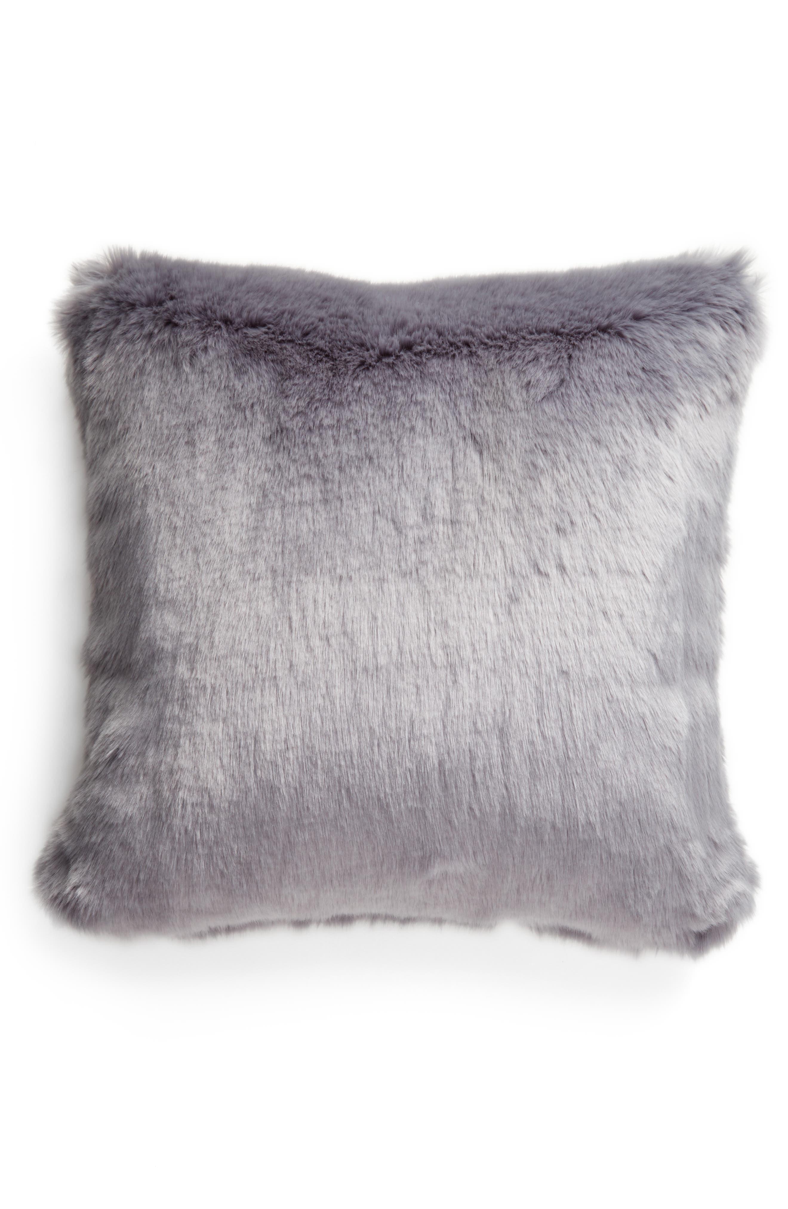 Cuddle Up Faux Fur Pillow,                         Main,                         color, BLUE TRADEWINDS