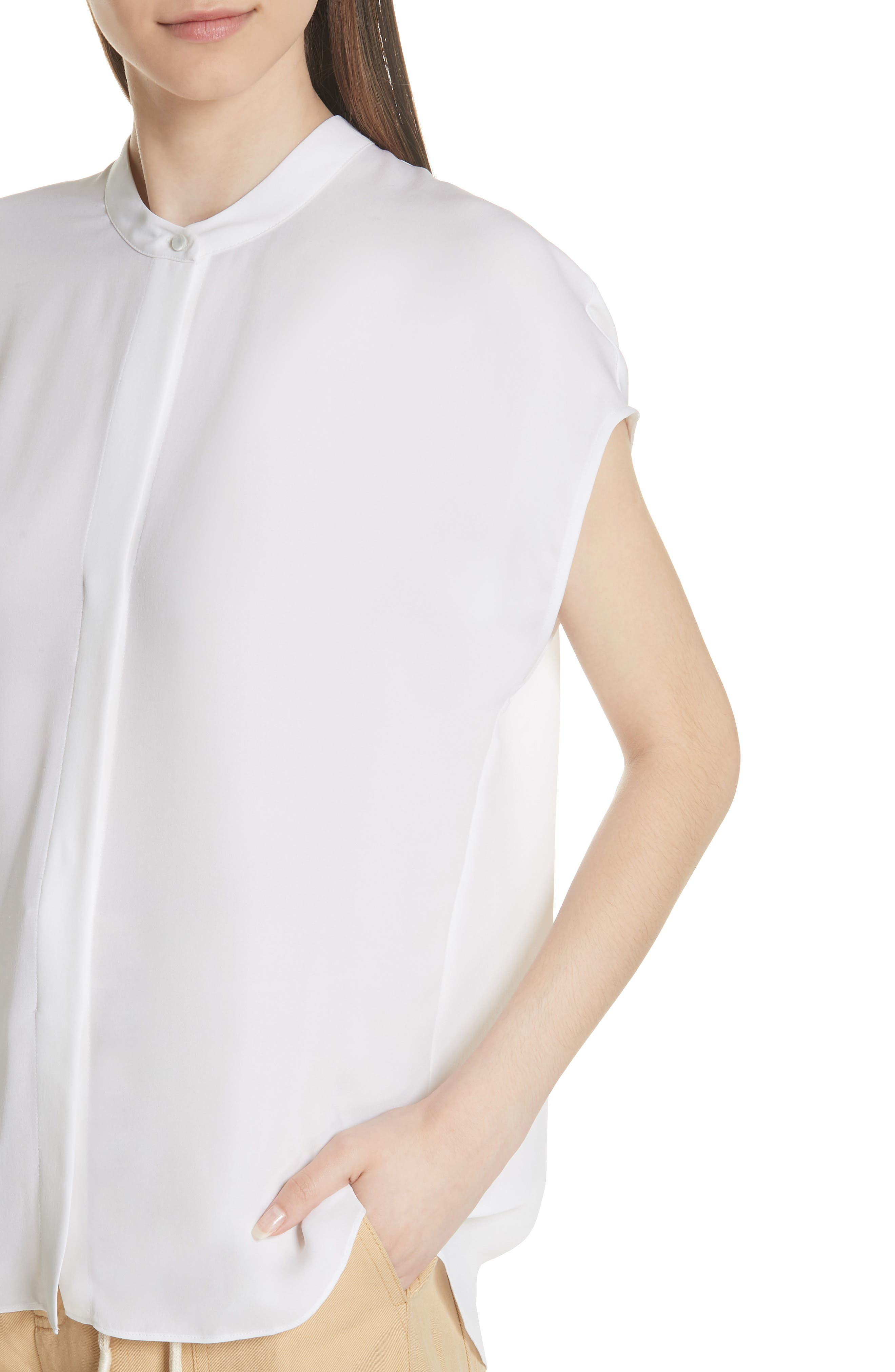 Back Slit Silk Top,                             Alternate thumbnail 4, color,                             OPTIC WHITE