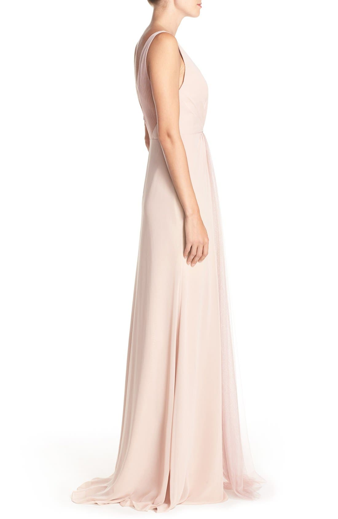 Deep V-Neck Chiffon & Tulle Gown,                             Alternate thumbnail 12, color,