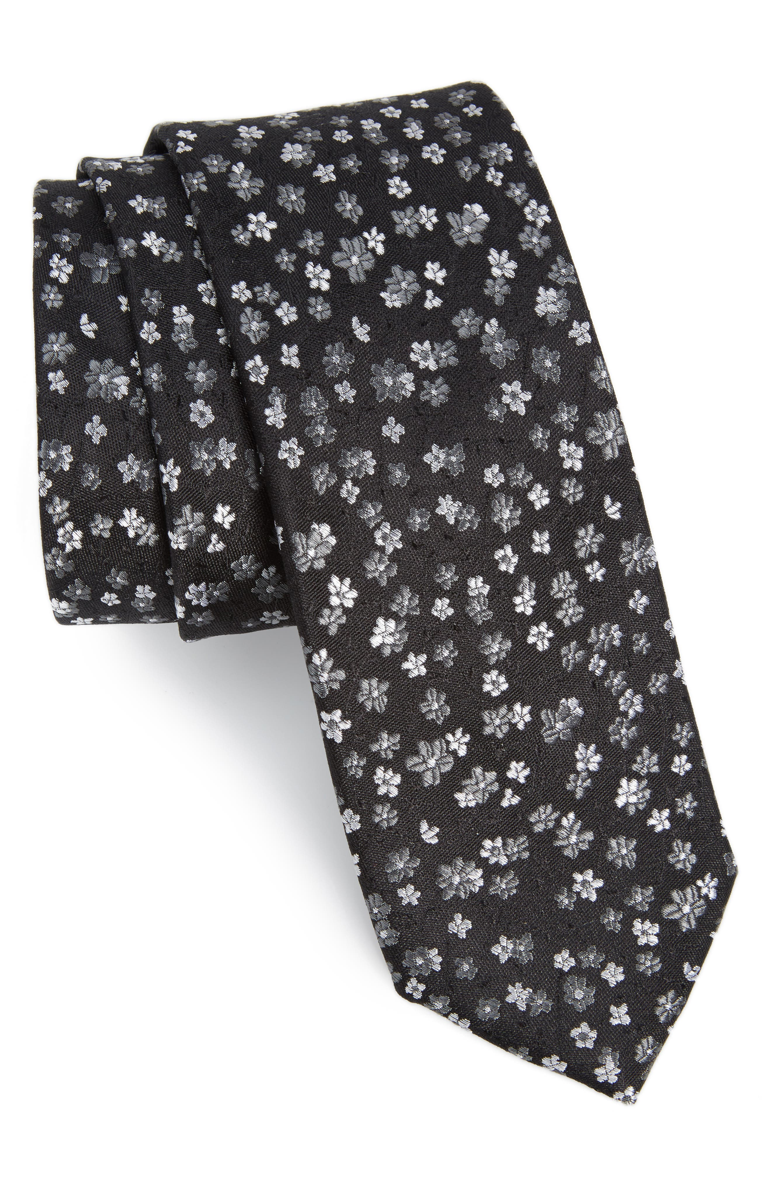 Freefall Floral Silk Tie,                             Main thumbnail 1, color,                             001