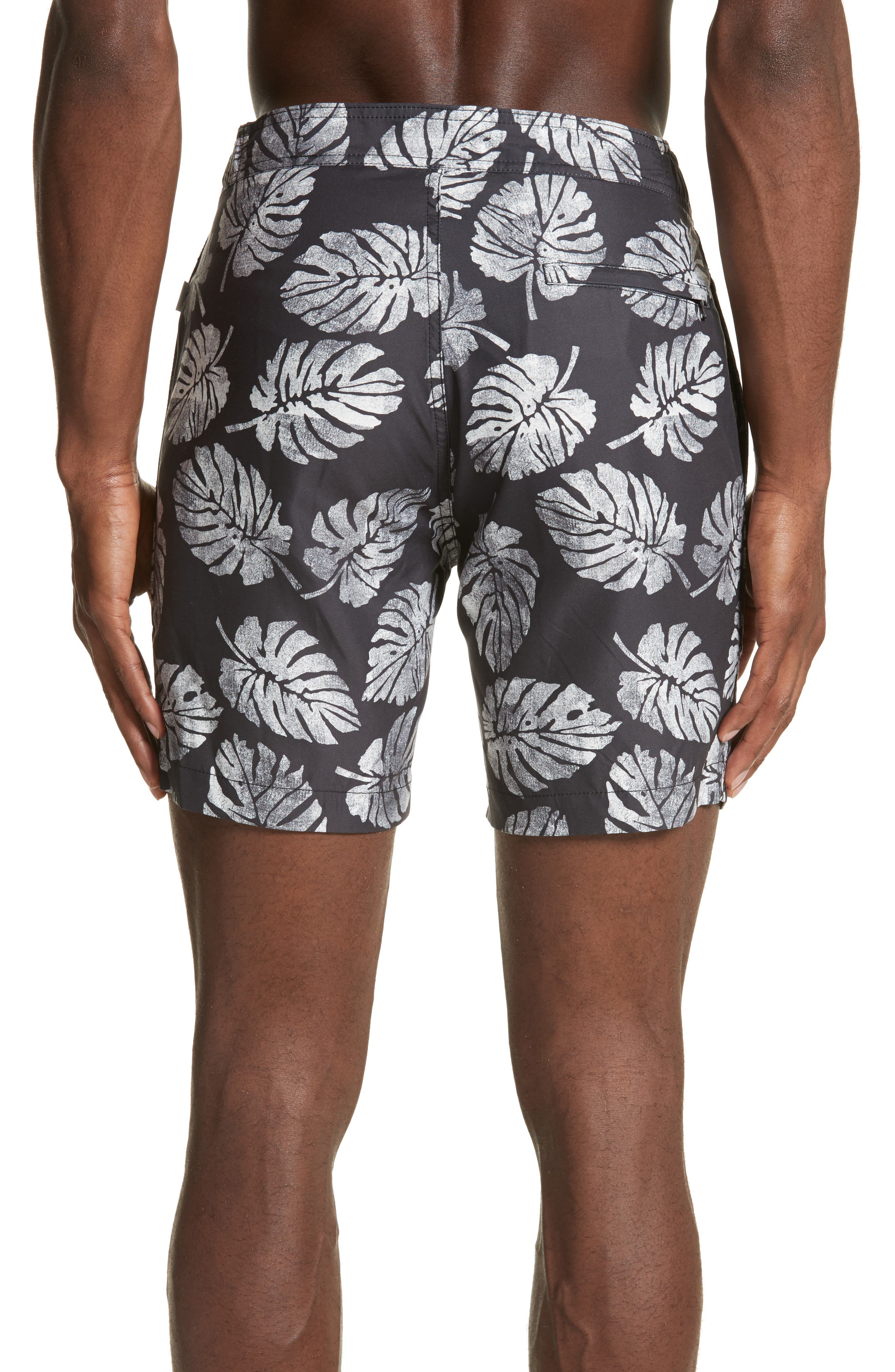 Palm Stamps Alek Board Shorts,                             Alternate thumbnail 2, color,                             CHARCOAL/ WHITE
