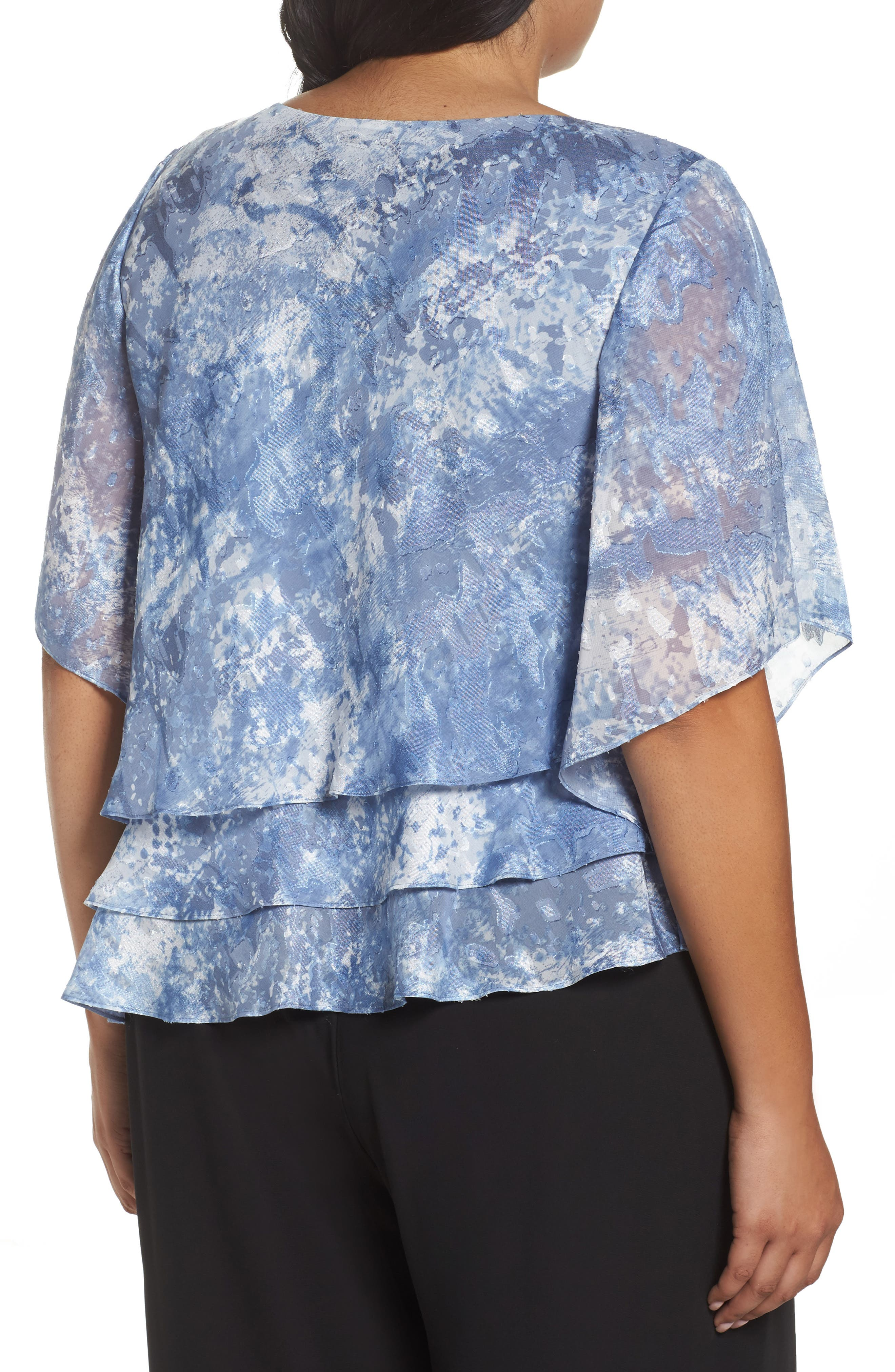 Alex Eveeings Tiered Burnout Blouse,                             Alternate thumbnail 2, color,                             496