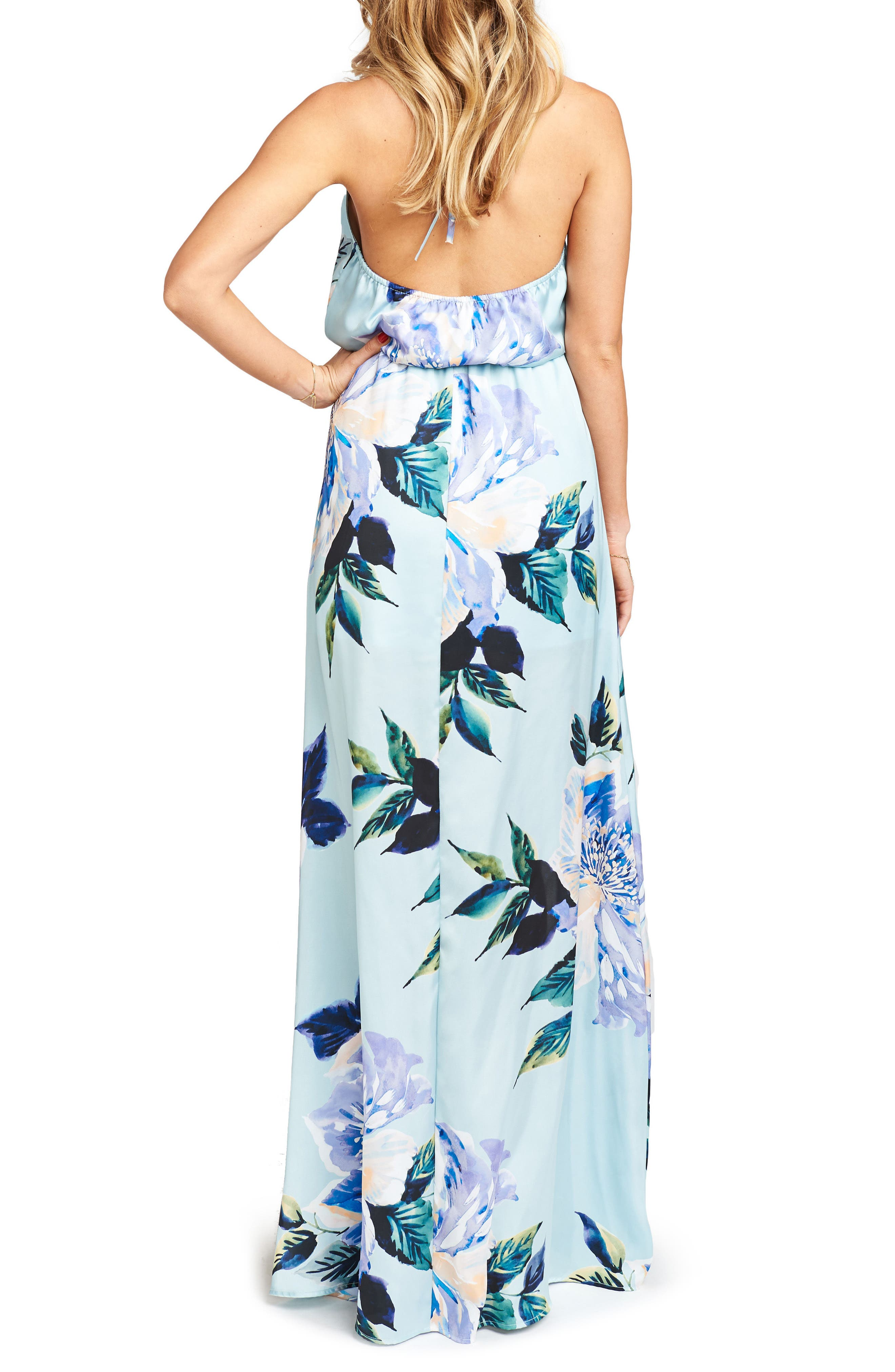 Heather Chiffon Halter Gown,                             Alternate thumbnail 19, color,