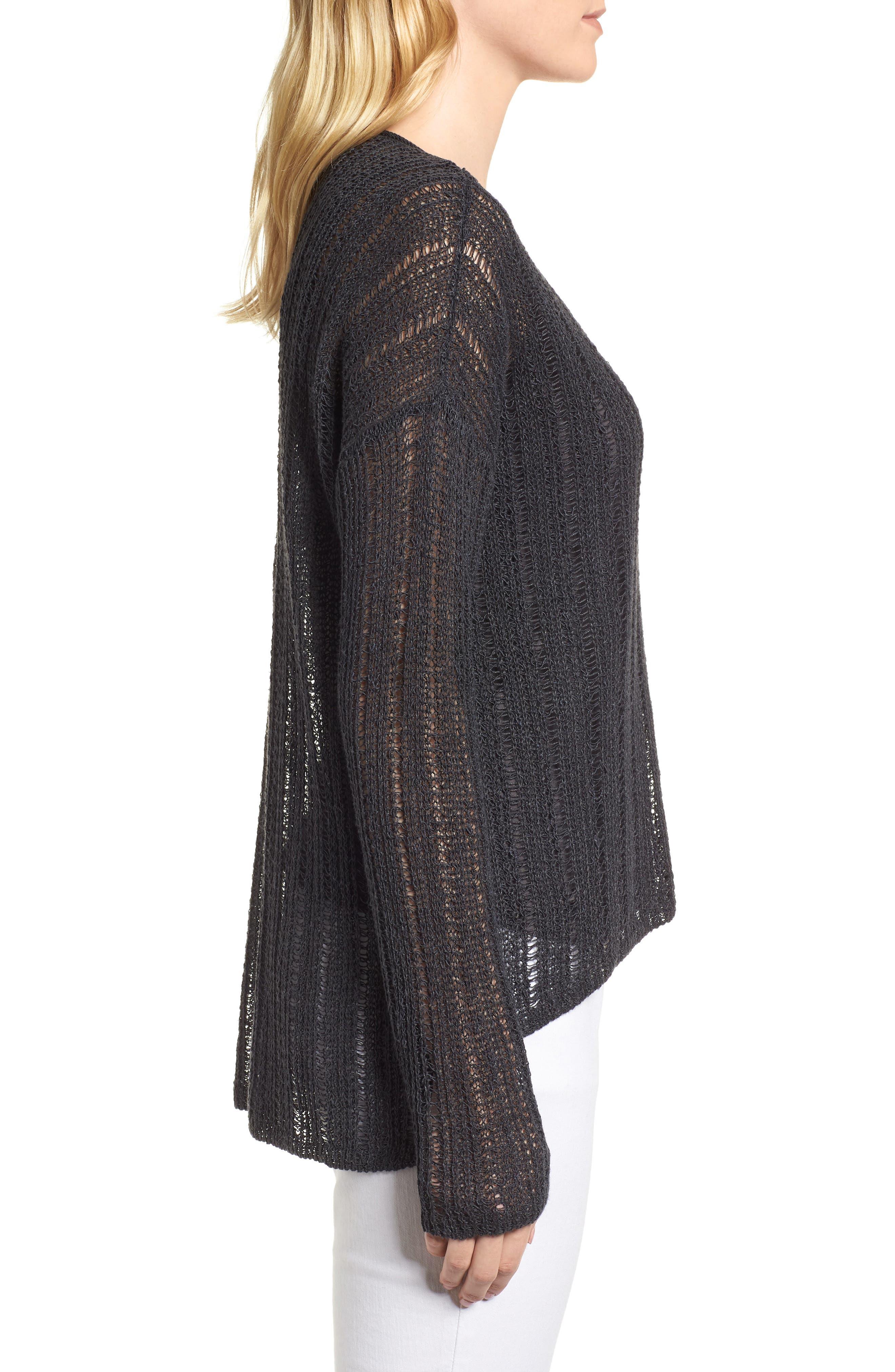 Open Knit Organic Linen Blend Sweater,                             Alternate thumbnail 3, color,                             025