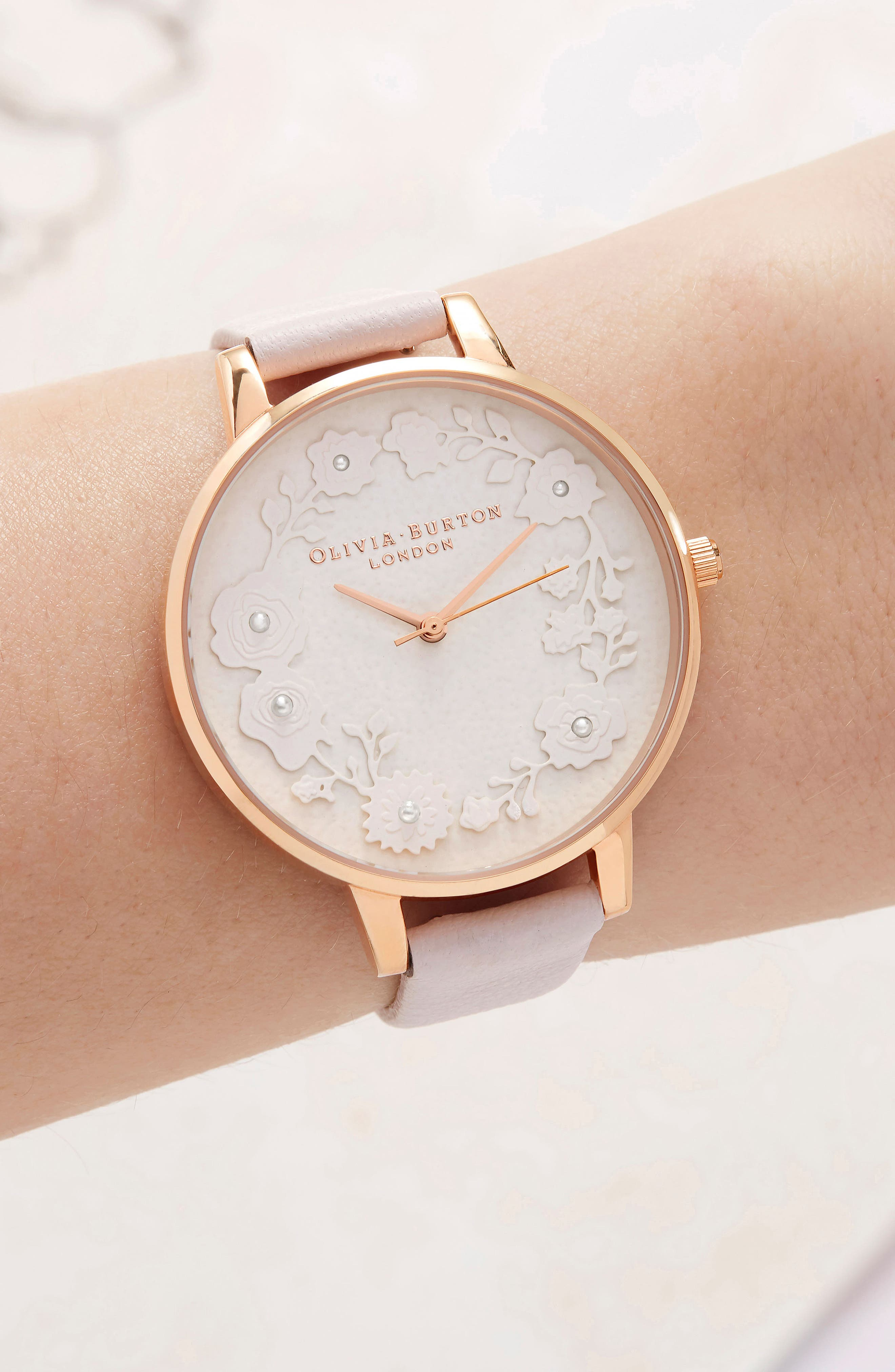Artisan Dial Leather Strap Watch, 38mm,                             Alternate thumbnail 2, color,                             BLOSSOM/ WHITE/ ROSE GOLD