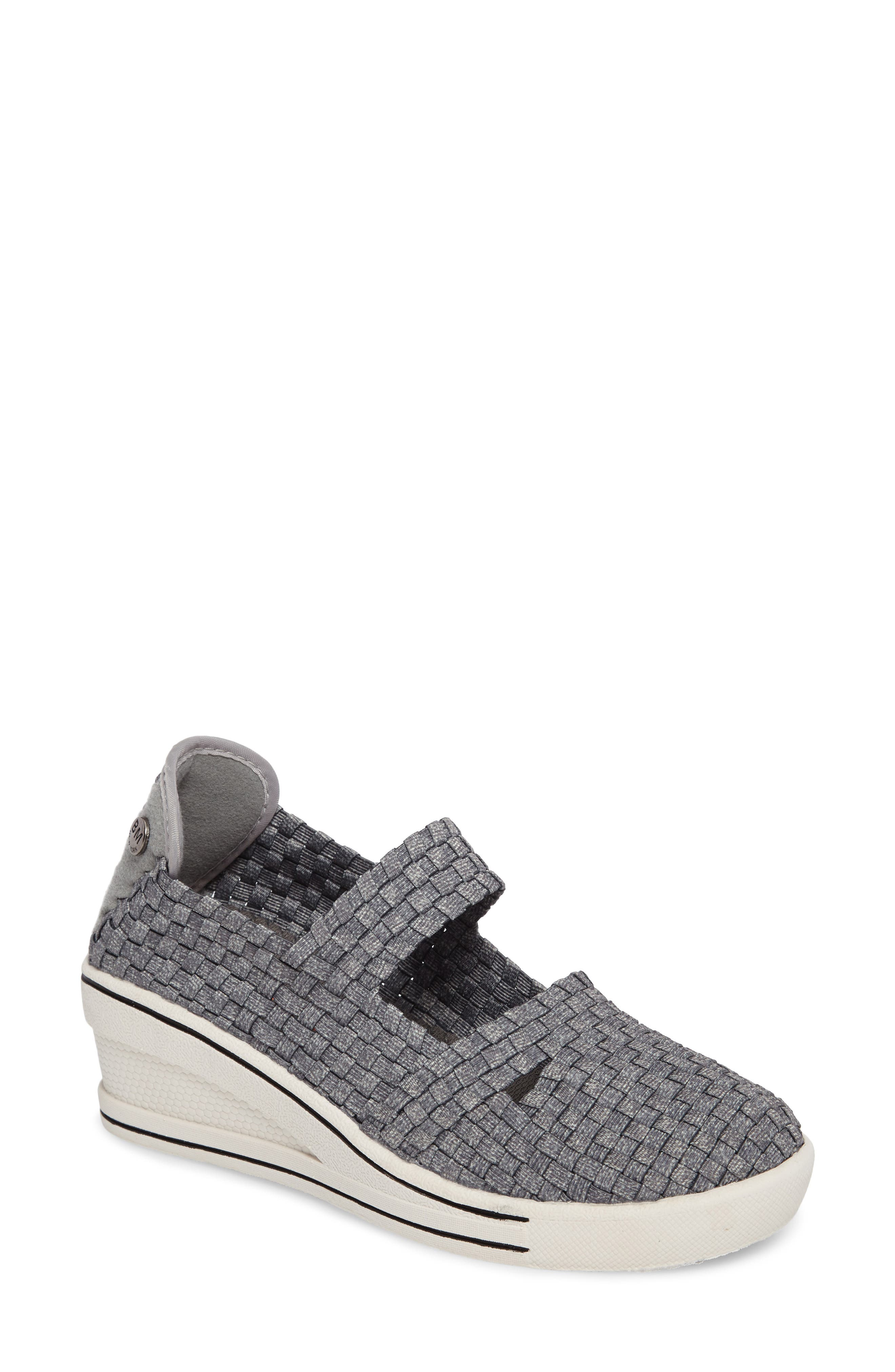 Frontier Woven Mary Jane Wedge,                             Main thumbnail 1, color,                             HEATHER GREY FABRIC