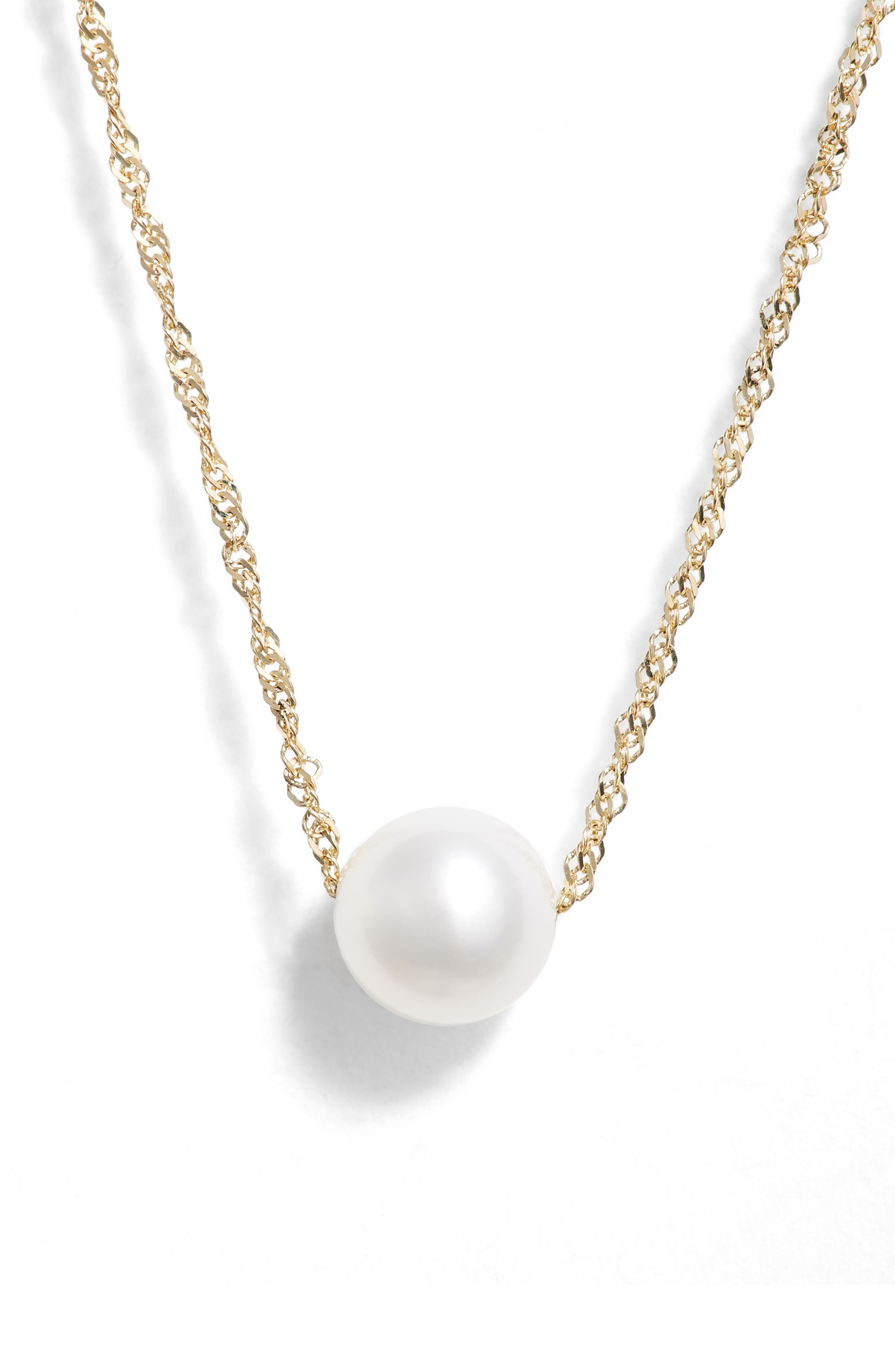 Petite Pearl Necklace,                             Main thumbnail 1, color,                             YELLOW GOLD/ PEARL