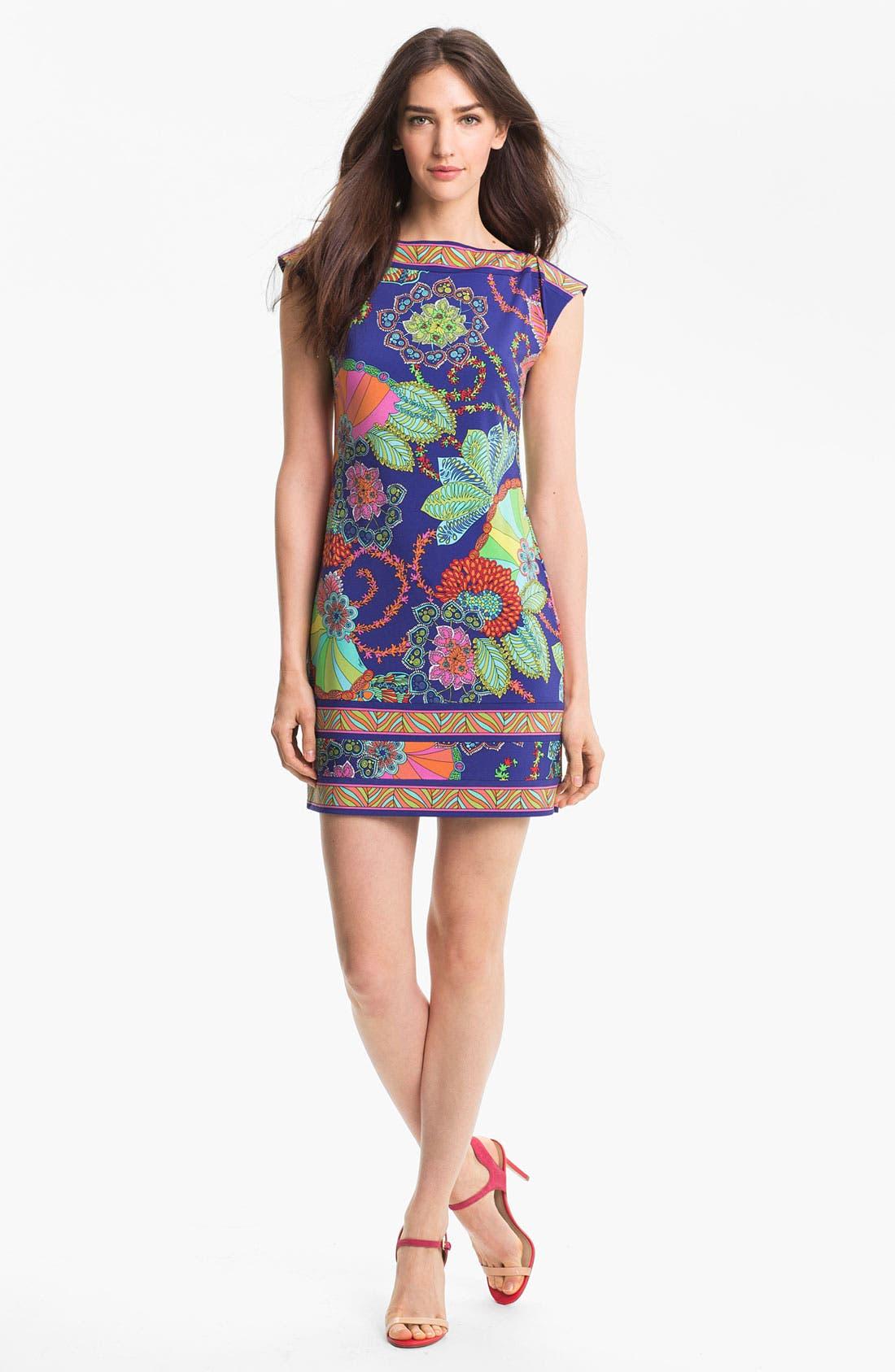 TRINA TURK,                             'Felana' Print Jersey Shift Dress,                             Main thumbnail 1, color,                             400