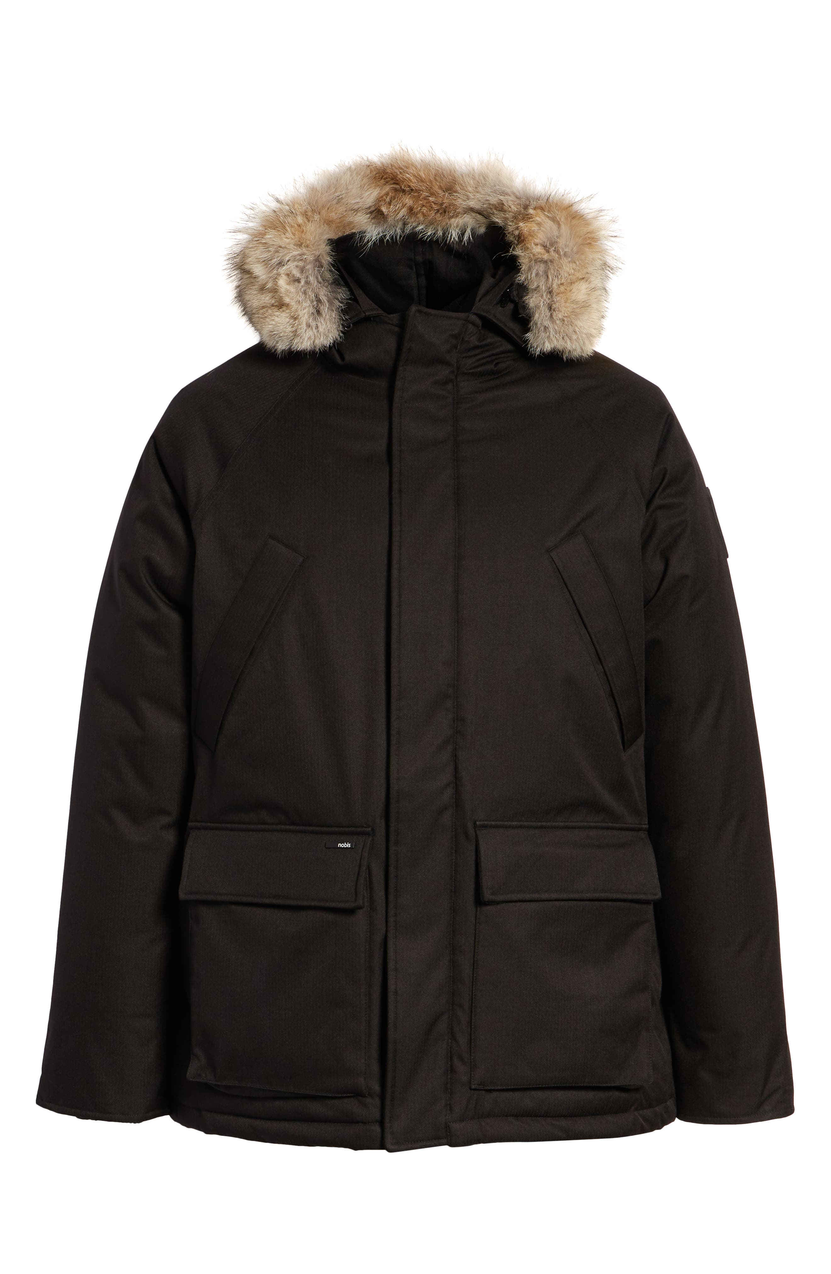 Heritage Down Parka with Genuine Coyote Fur Trim,                             Alternate thumbnail 6, color,                             BLACK